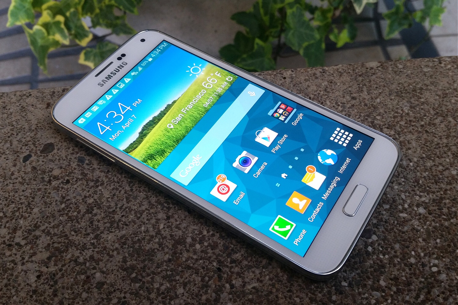 Samsung's Galaxy S5 smartphone (shown in a photo taken with another Galaxy S5)
