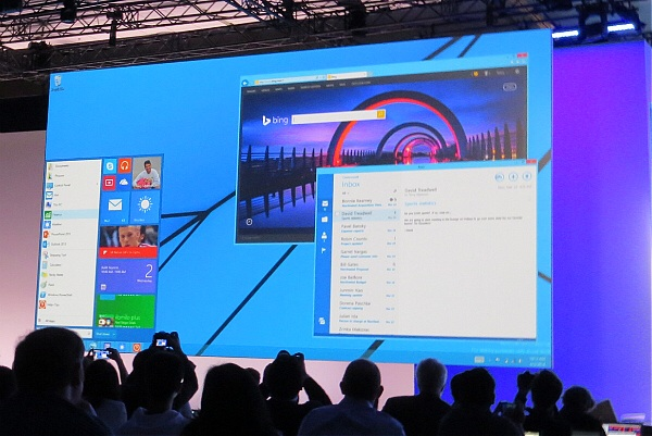 Developers look at a preview of an upcoming version of Windows with a Start menu at the Build conference in San Francisco on April 2, 2014