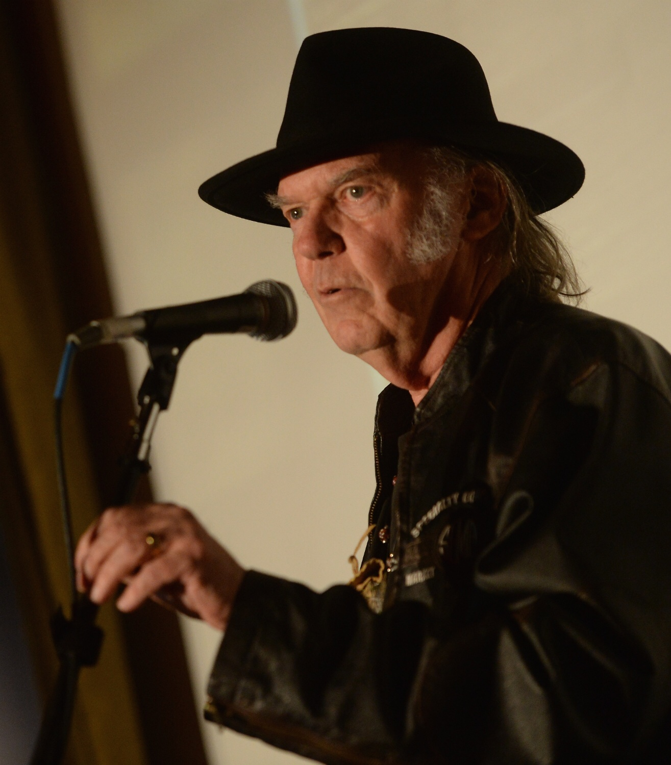 Neil Young is honored at a Grammy Week event in Los Angeles on January 21, 2014