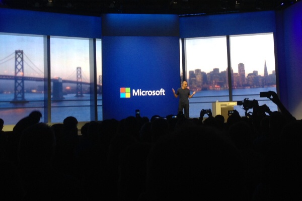 Microsoft CEO Satya Nadella speaks at the Build conference on April 2, 2014