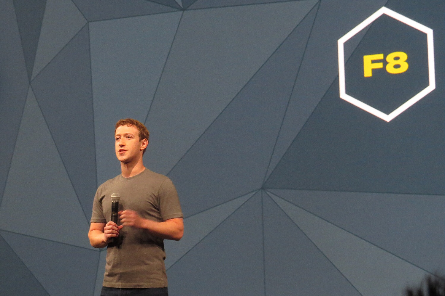 Mark Zuckerberg gives the keynote at Facebook's f8 conference in San Francisco on April 30, 2014