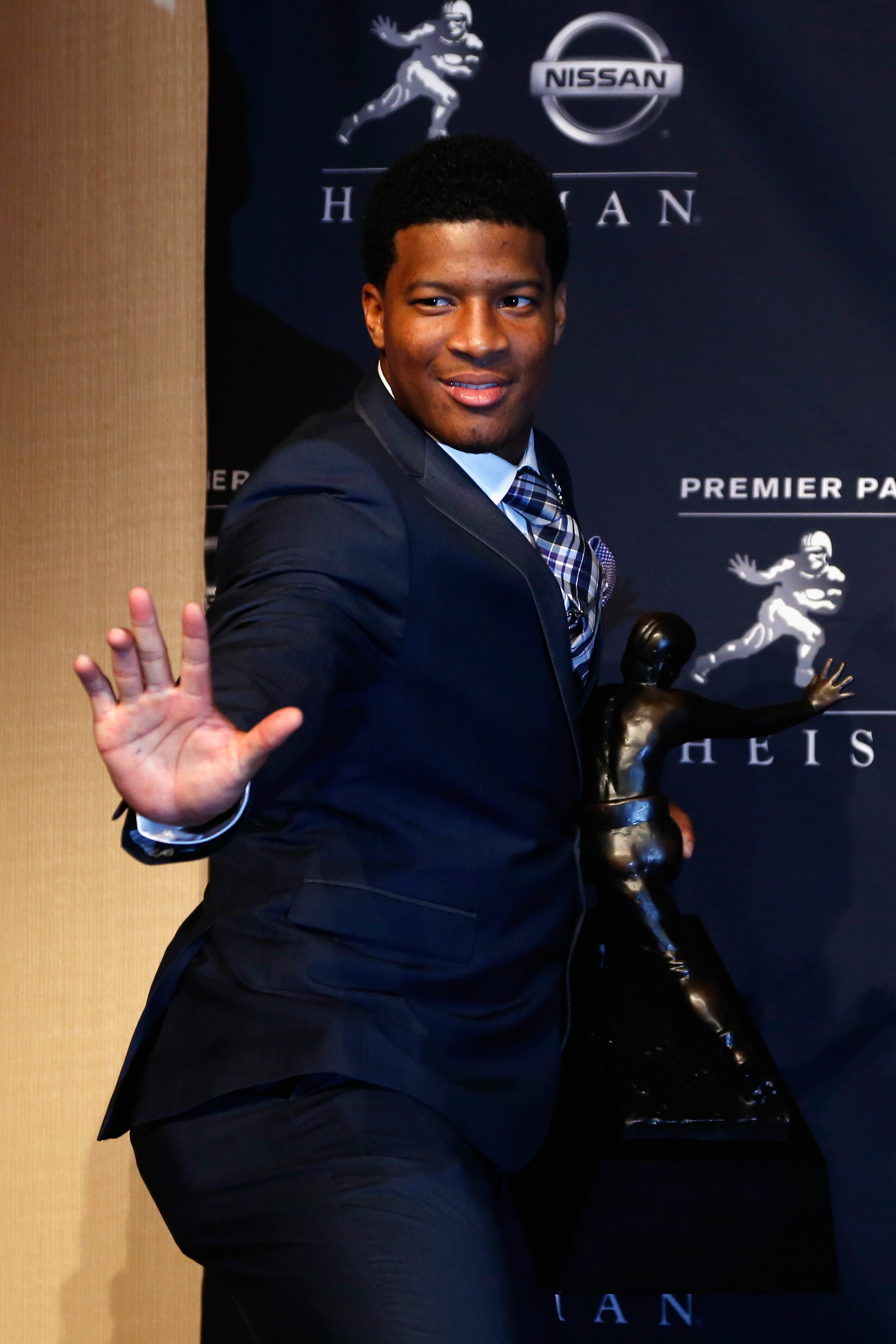 Jameis Winston, quarterback of the Florida State Seminoles, speaks to the media during a press conference after the 2013 Heisman Trophy Presentation at the Marriott Marquis on Dec. 14, 2013 in New York City.