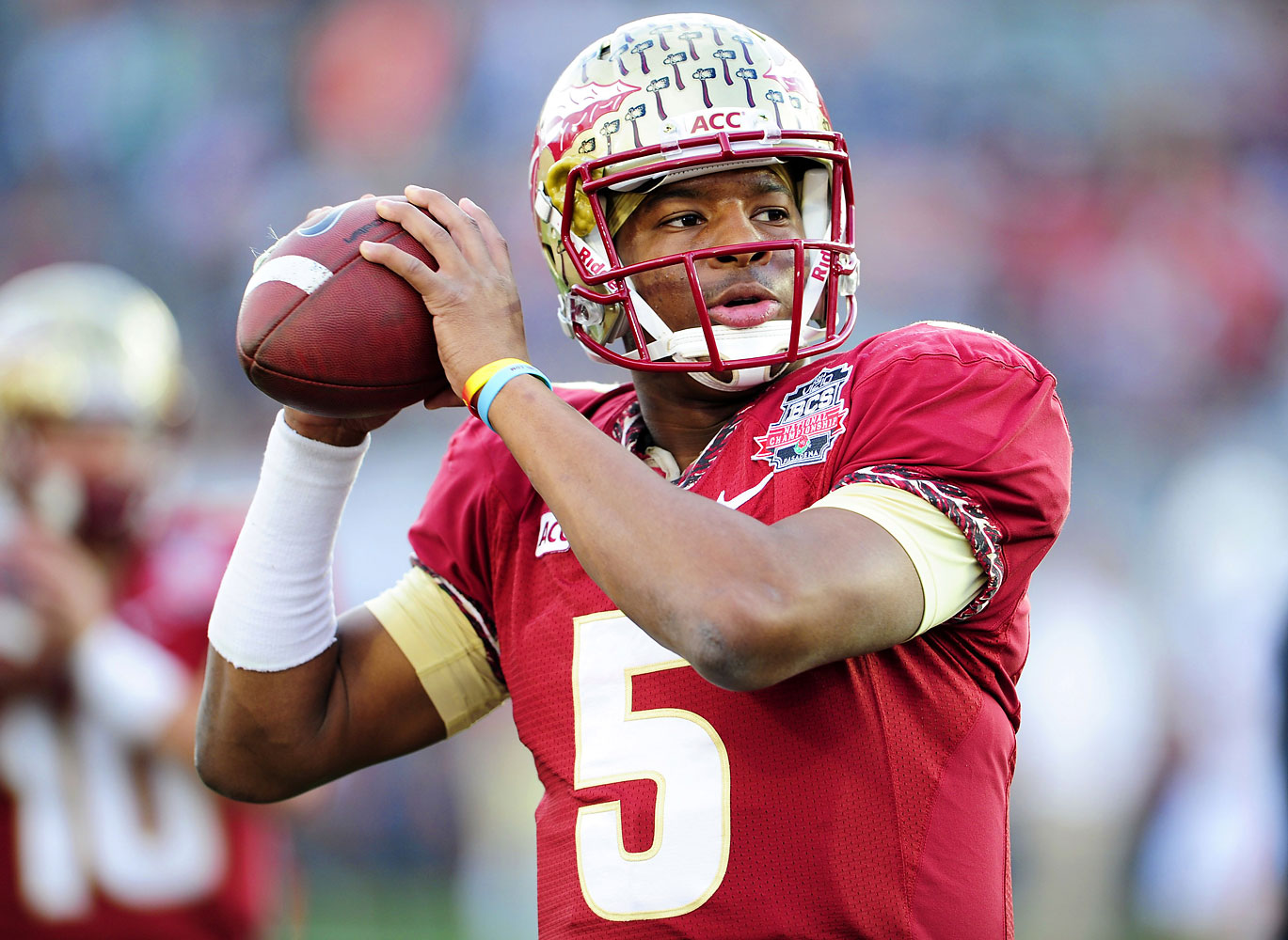 Jameis Winston of the Florida State Seminoles in action during the BCS National Championship. Florida State defeated Auburn 34-31 in the game at the Rose Bowl in Pasadena, Calif., Jan. 6 2014.