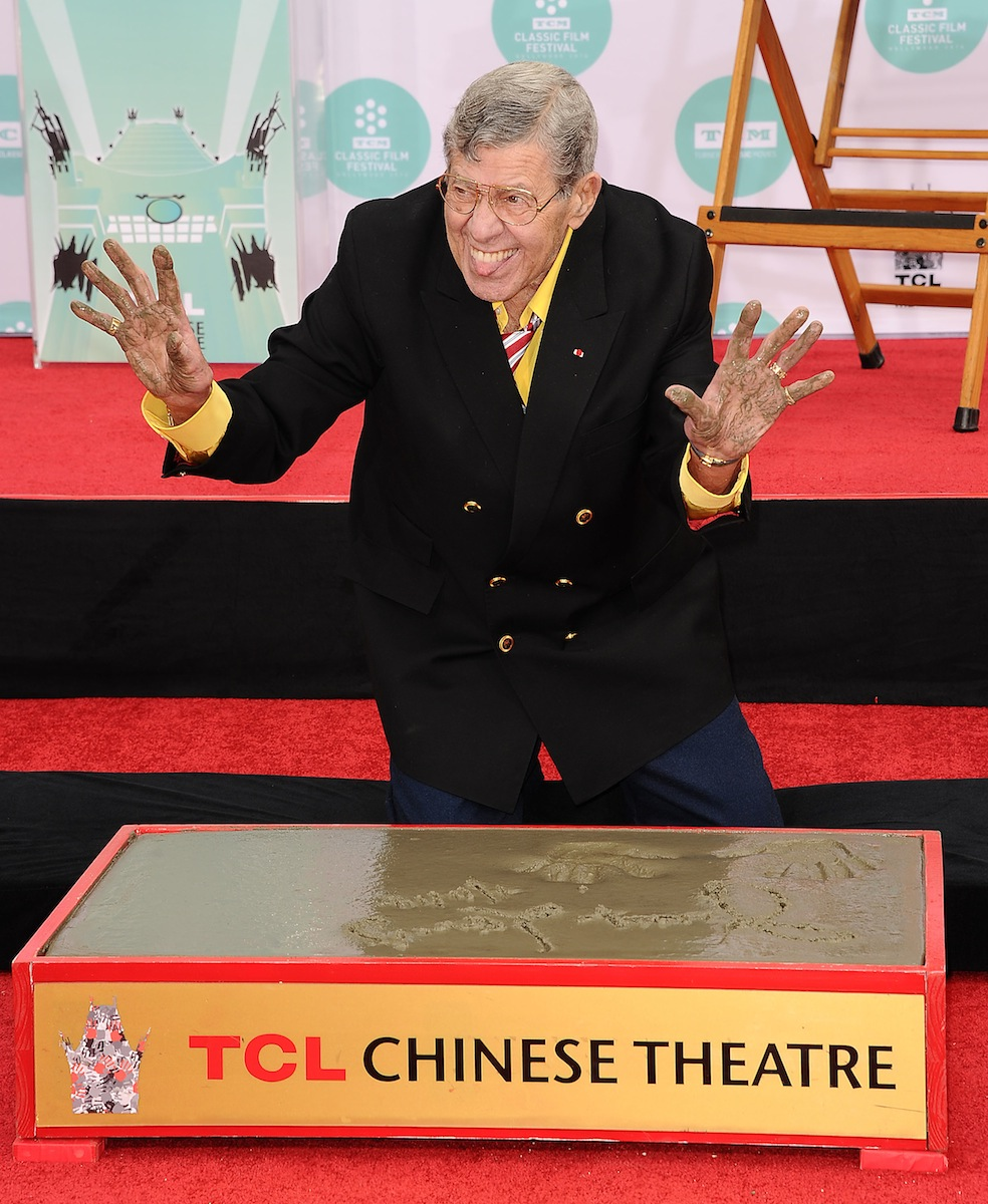 Jerry Lewis is honored with a Hand And Footprint Ceremony at TCL Chinese Theatre IMAX on April 12, 2014, in Hollywood, Calif.
