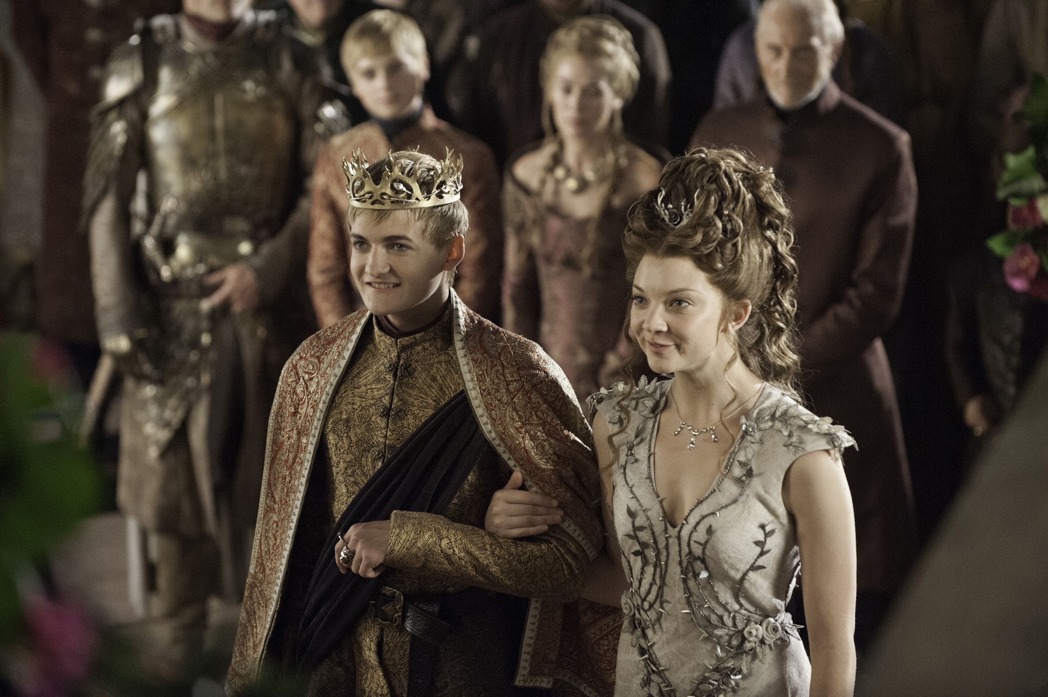From left: Jack Gleeson as Joffrey Baratheon and Natalie Dormer as Margaery Tyrell in Season 4, Episode 2 of HBO's Game of Thrones.