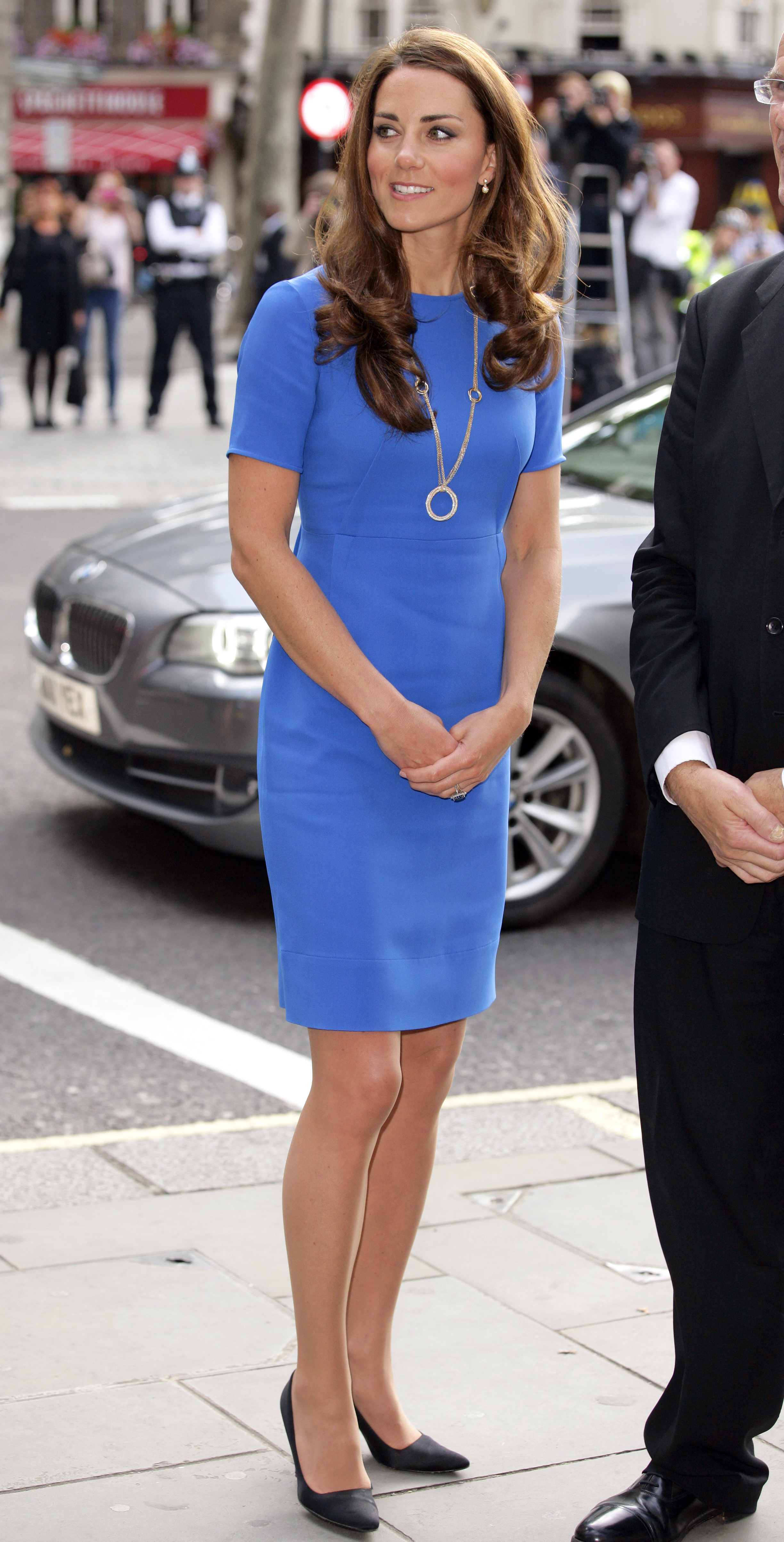 "<strong>Royal Blue</strong>                                   On July 19, 2012, the Duchess wore an $800 electric blue Stella McCartney dress to the National Portrait Gallery in London. Middleton was at the museum to unveil ""The Road to 2012: Aiming High,"" a portrait exhibition of athletes competing in the 2012 Games. McCartney designed the Olympic uniforms for the 2012 U.K. team."