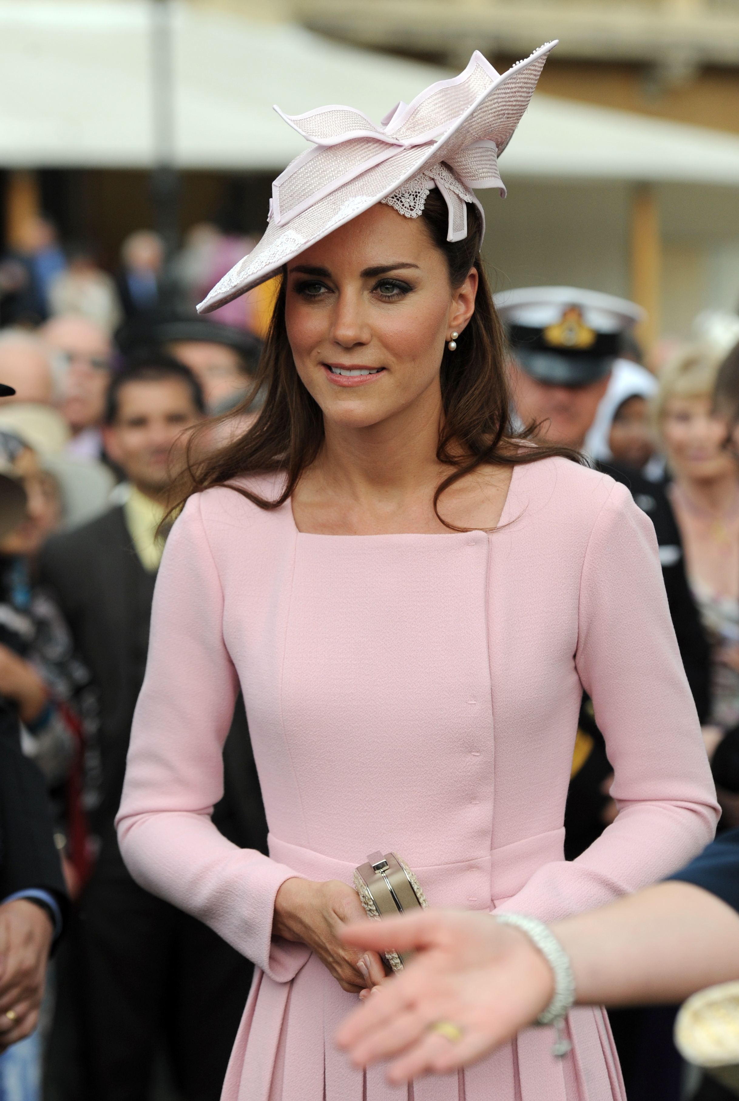<strong>Familiar Frock</strong>                                   On May 29, 2012, In honor of Queen Elizabeth II's Diamond Jubilee, the Duchess attended a garden party at Buckingham Palace in a familiar Emilia Wickstead frock, topped off with Jane Corbett hat.