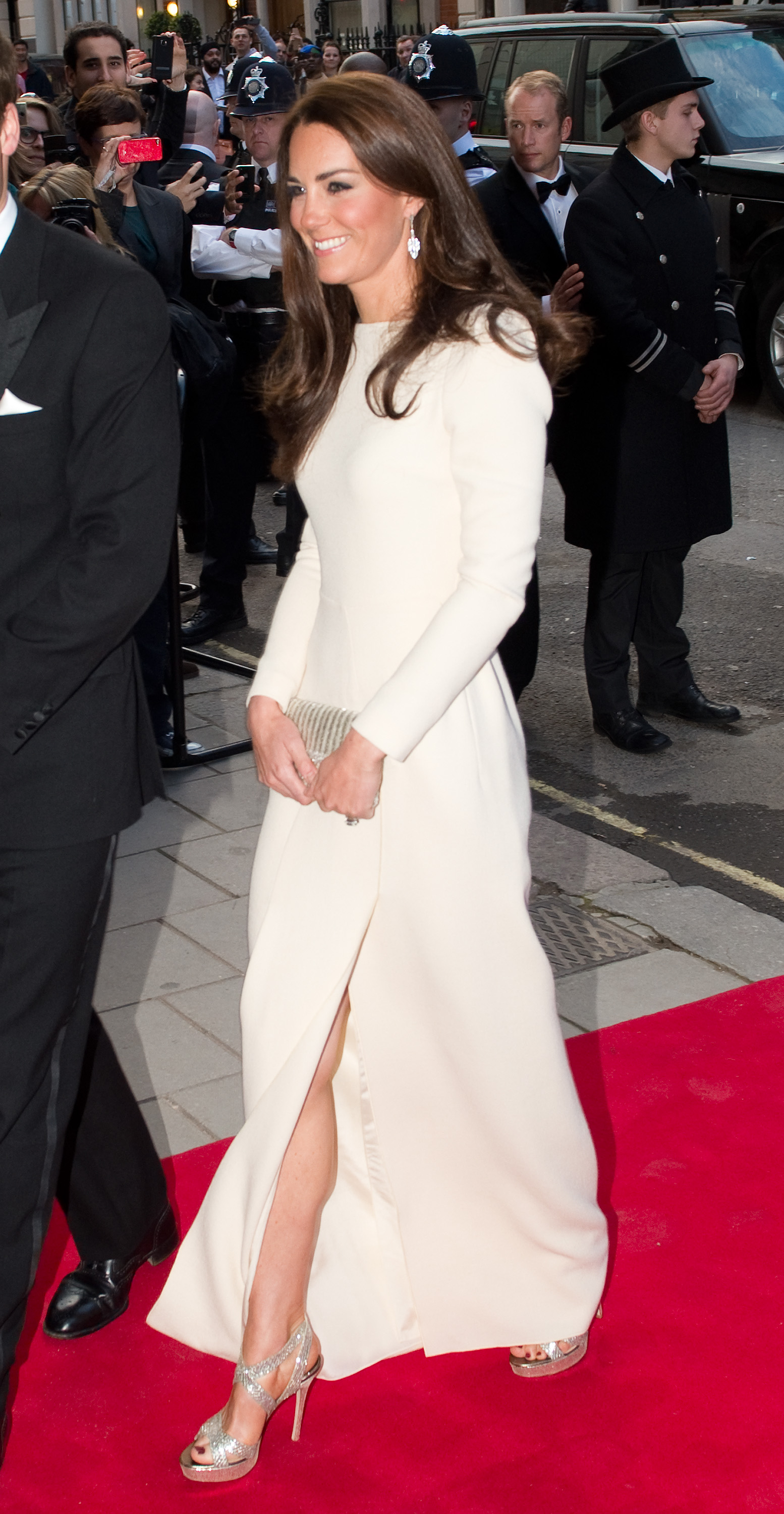<strong>Dinner Guest</strong>                                   On May 8, 2012, the Duchess attended an event hosted by The Thirty Club at Claridges in London wearing a white gown by Roland Mouret and Jimmy Choo heels.