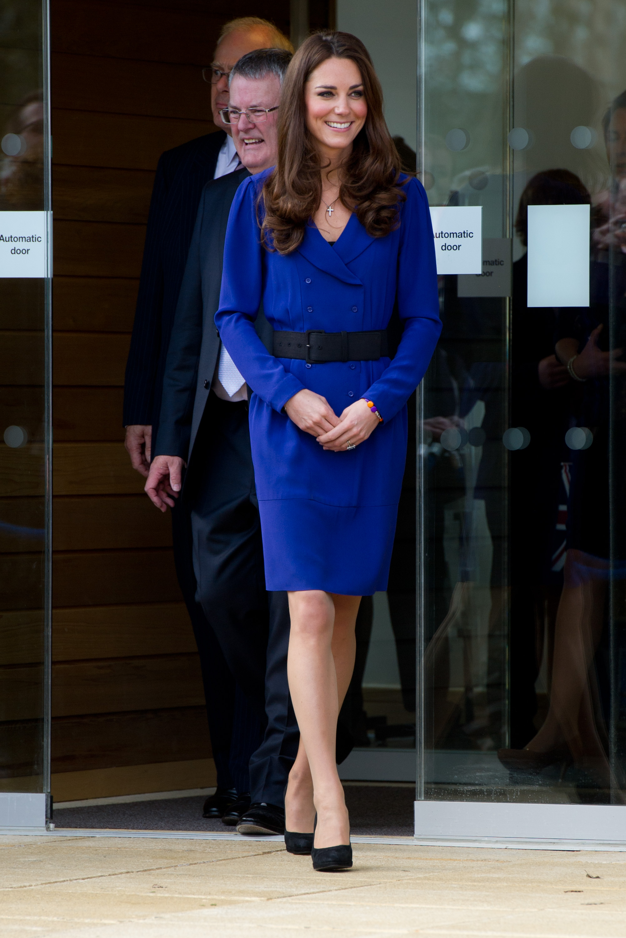 <strong>Speaking Solo</strong>                                   Catherine, the Duchess of Cambridge gave her first solo official remarks as a royal at the opening of the Treehouse Children's Hospice on March 19, 2012, in Ipswich, England. She wore a blue Reiss frock—the same dress that her mother, Carole Middleton, wore to the Ascot horse races in 2010.
