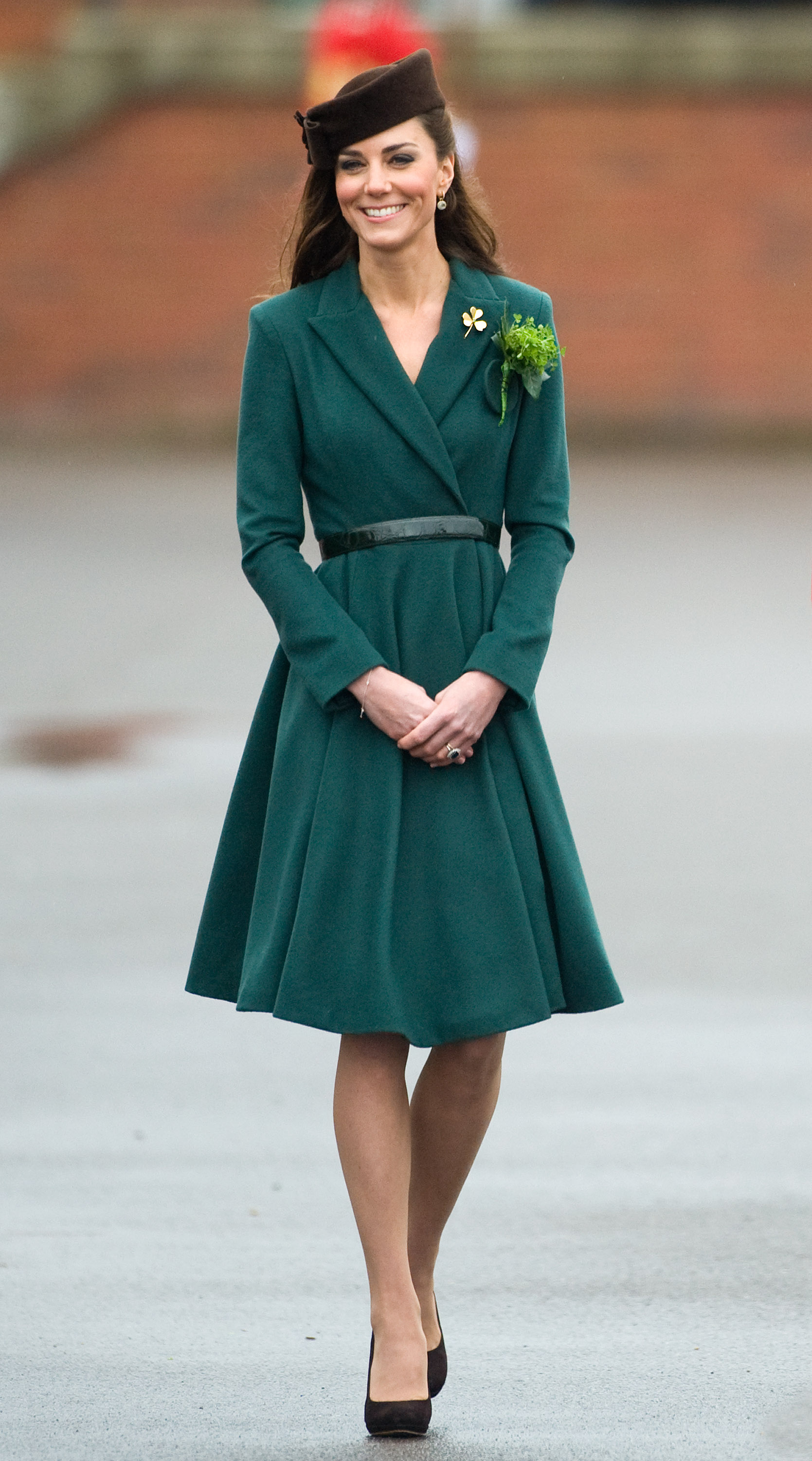 <strong> O'Middleton</strong>                                   The Duchess celebrated St. Patrick's Day on March 17, 2012 in a dark green Emilia Wickstead dress. She took part in a parade and presented shamrocks to the Irish Guards at Aldershot Barracks as part of her official events.