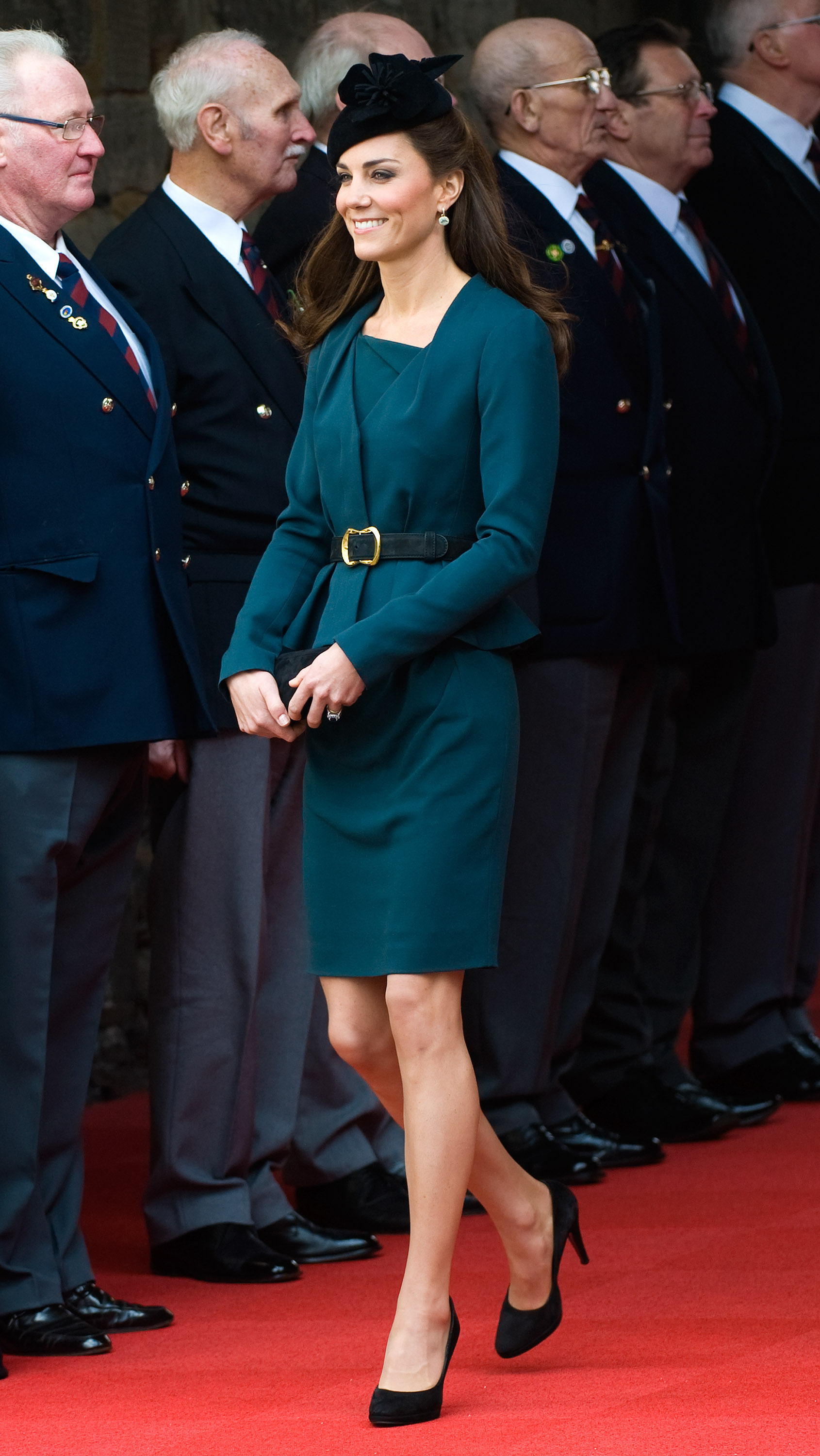 <strong>Touring in Teal</strong>                                   On March 8, 2012, the Duchess accompanied Queen Elizabeth II to Leicester to kick off her Diamond Jubilee tour in the United Kingdom. Designed by LK Bennett, Middleton's jacket and dress reportedly sold out shortly after her appearance in them. The Duchess completed her look with a black fascinator and Epsiode pumps.