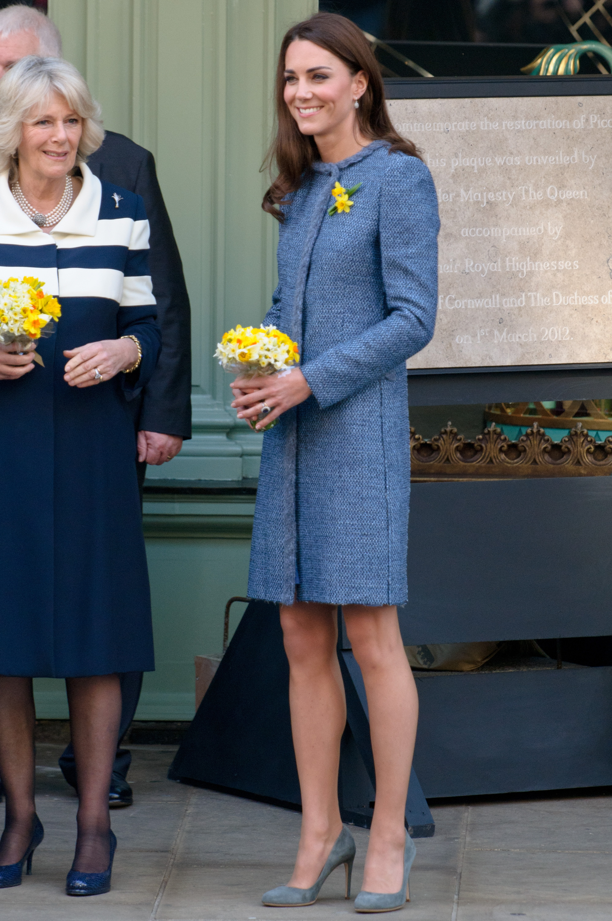 <strong>Three's a Crowd</strong>                                   In their first public appearance together without their husbands, Middleton, Camilla, the Duchess of Cornwall and Queen Elizabeth II visited Fortnum &amp; Mason store in London on March 1, 2012 as part of celebrations for the Queen's Diamond Jubilee. All three women wore blue, with Middleton choosing a cornflower Missoni coat.