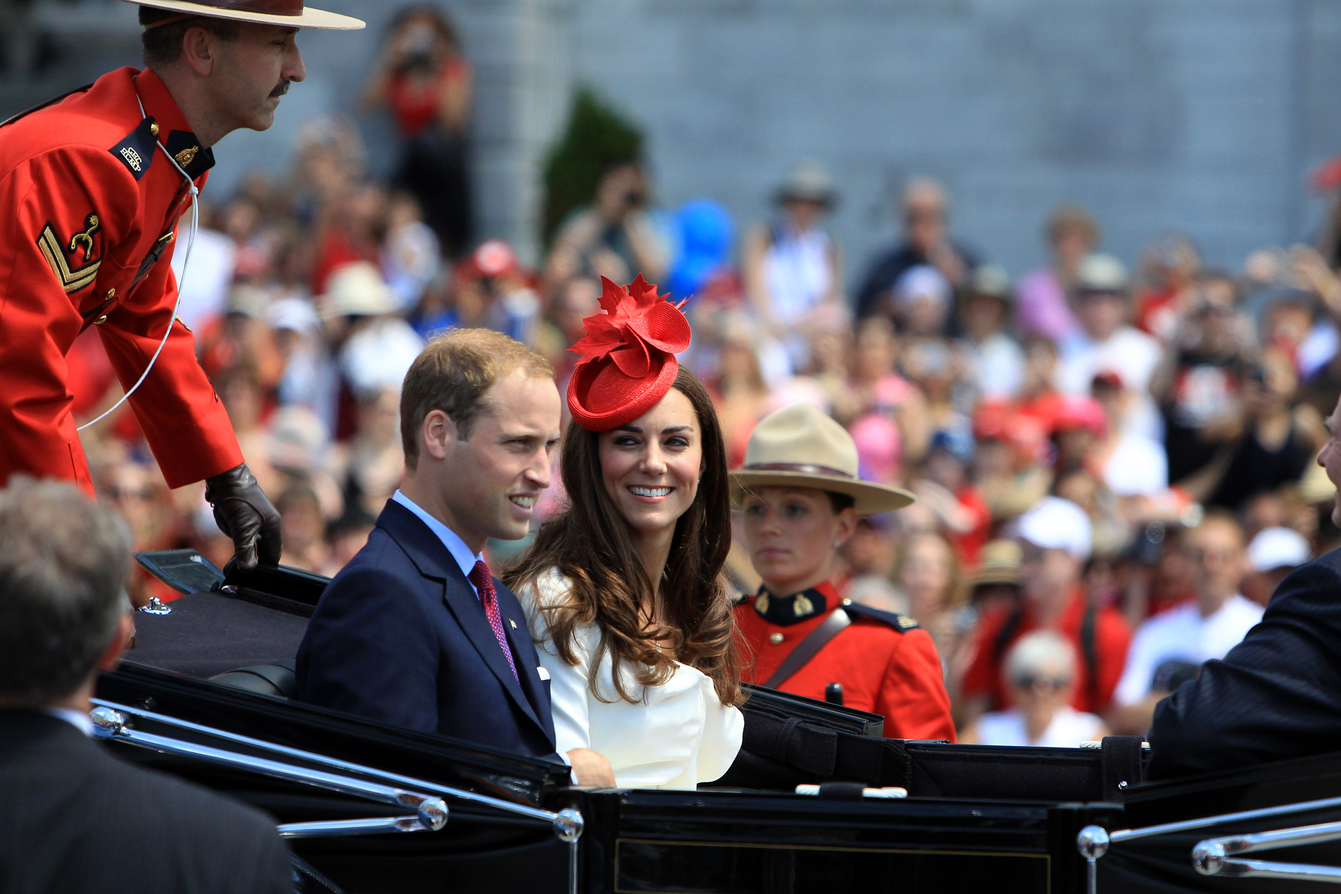 <strong>Reiss Repeat</strong>                                   The Duchess celebrated Canada Day on July 1, 2011, in the same white Reiss dress that she wore in her engagement photo. She accessorized with a red maple-leaf fascinator and maple-leaf brooch.