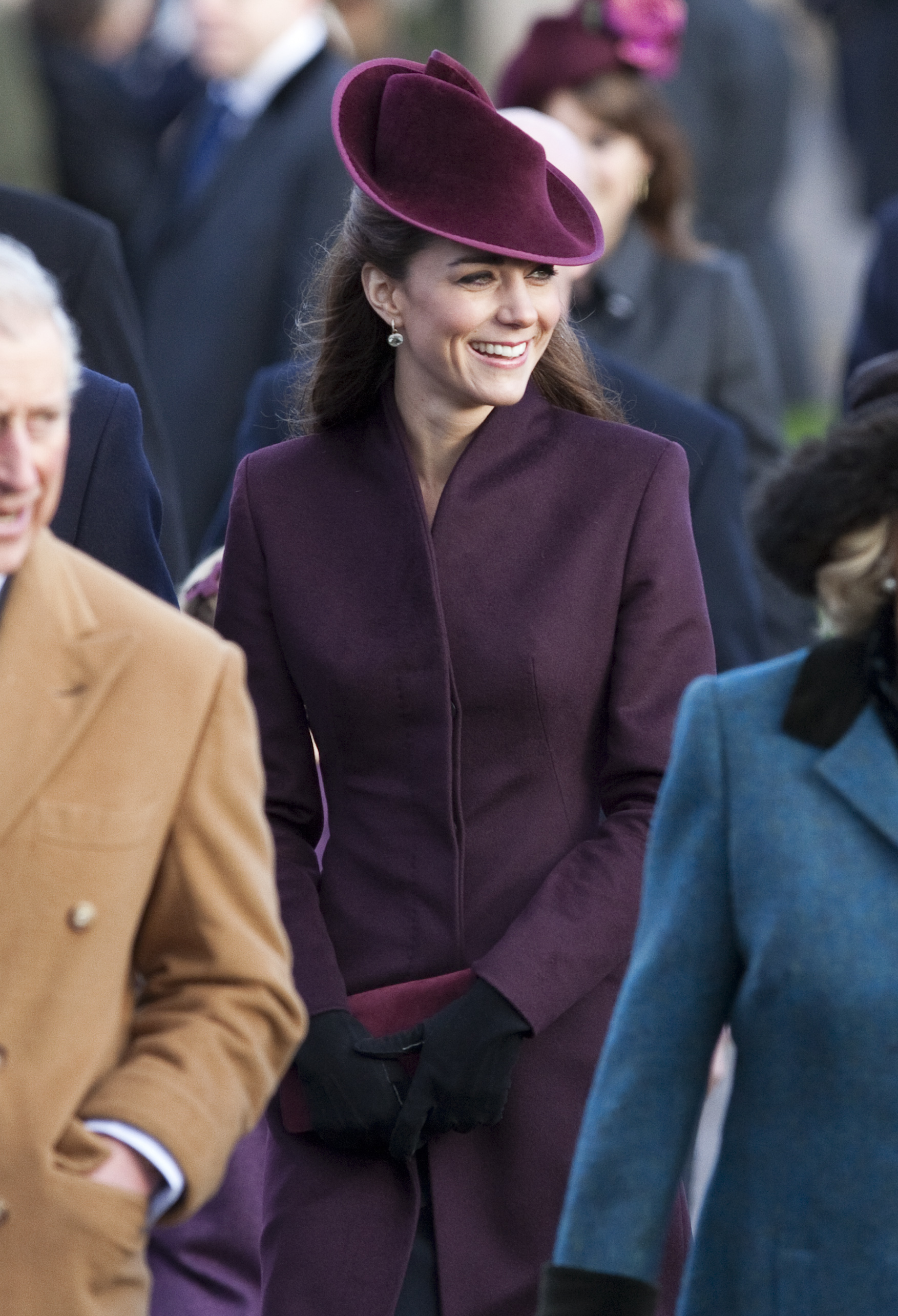 <strong>A Royal Christmas</strong>                                   The Duchess celebrated her first Christmas as a royal family member in an aubergine coat and hat by British designer Jane Corbett.