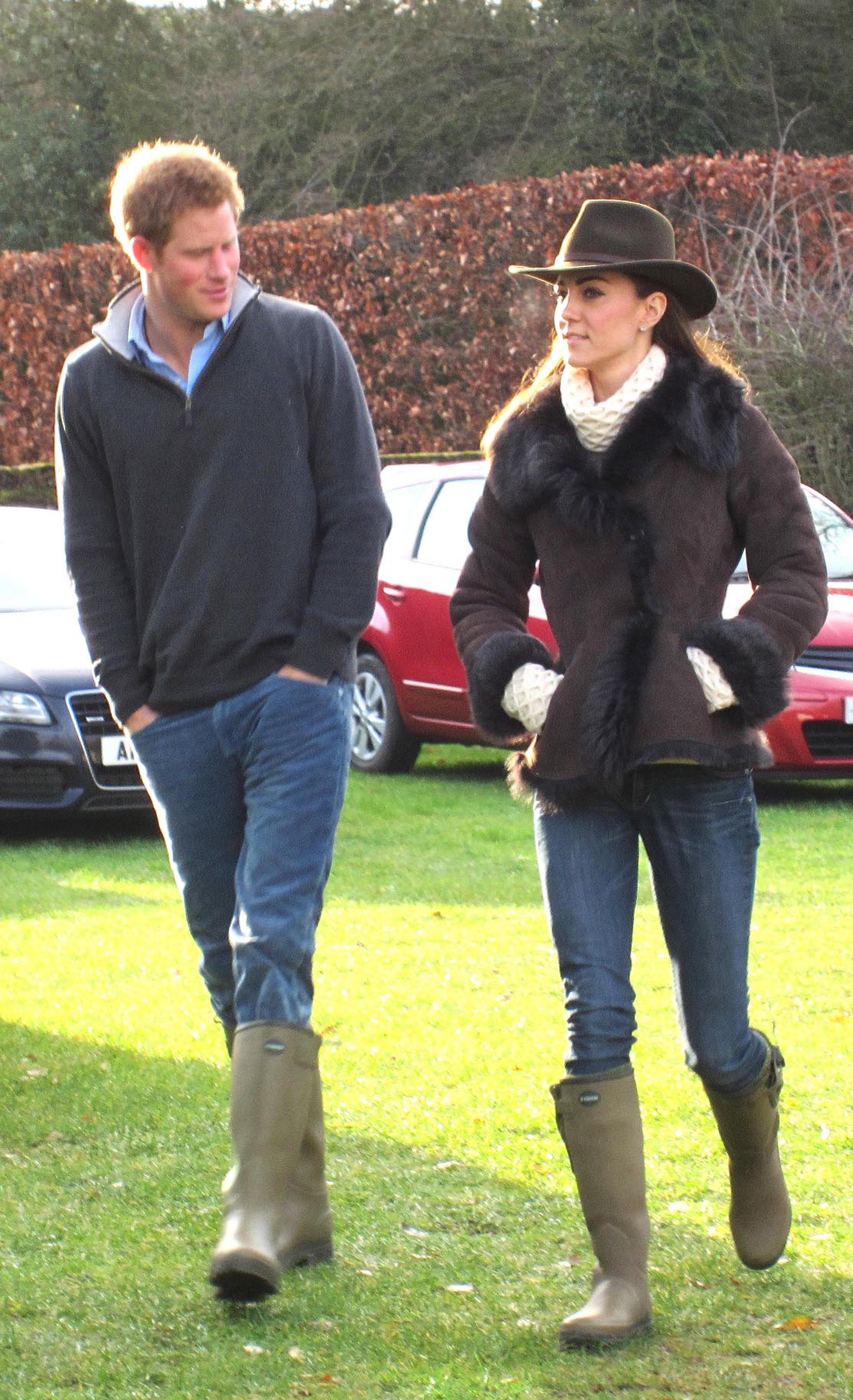 <strong>Matching Mates</strong>                                   On Dec. 24, 2011, the Duchess visited Castle Rising near Sandringham, Norfolk with Prince Harry. Both royals wore Wellington boots to watch Prince William play in a soccer match.