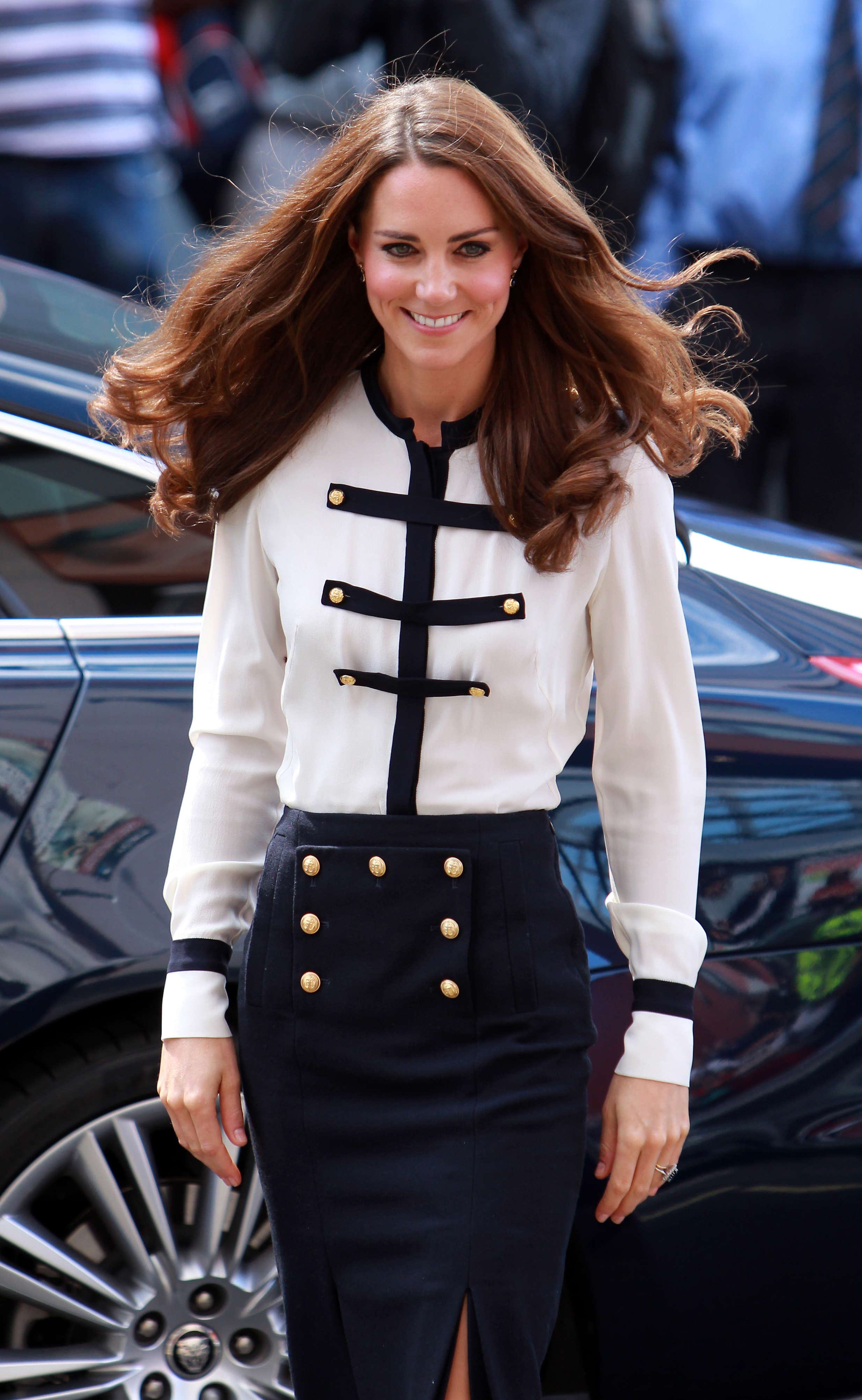 <strong>Sailor Chic</strong>                                   The Duchess visited a neighborhood affected by the London riots on Aug. 19, 2011.