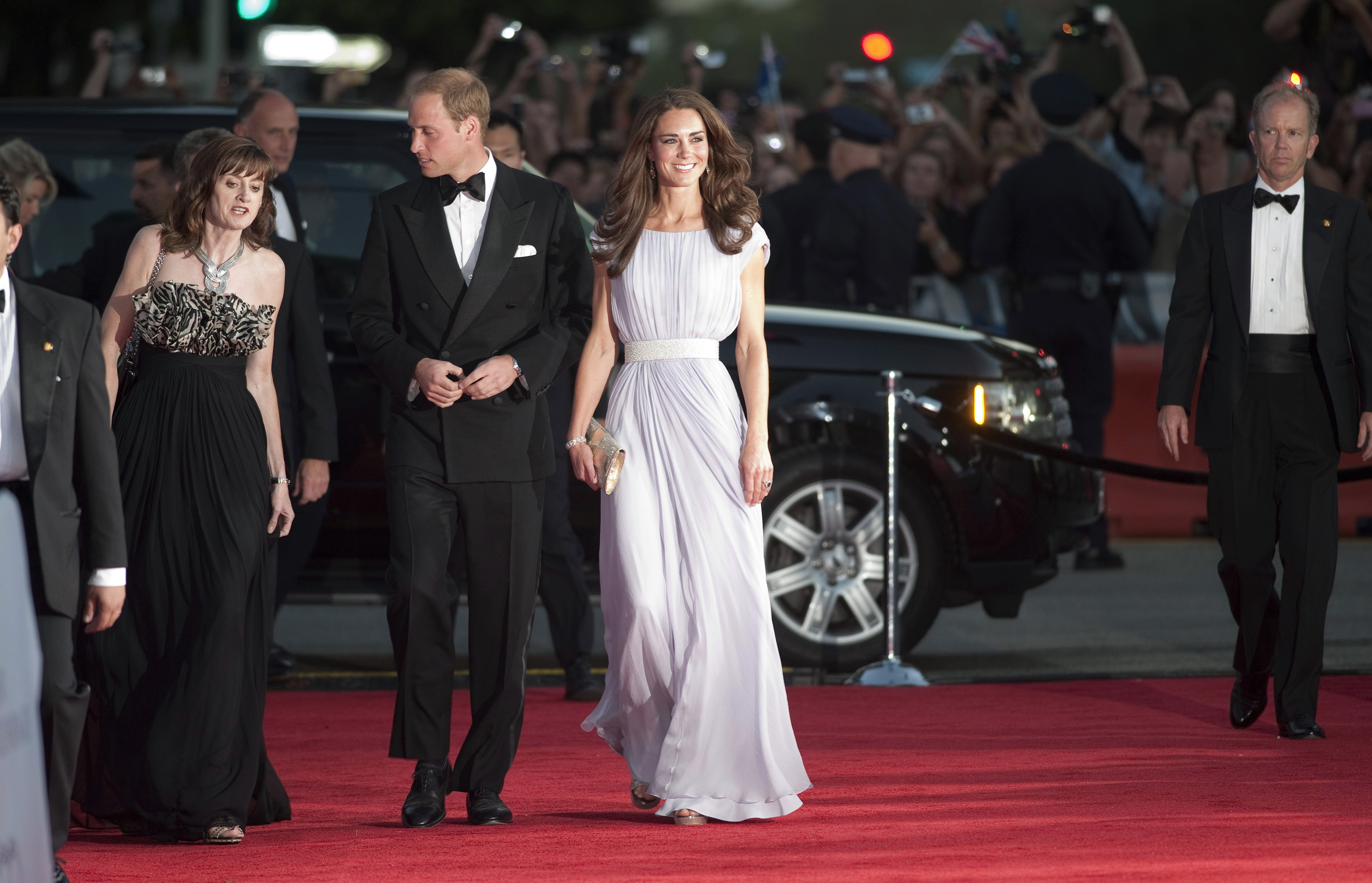 <strong>A Brit Beauty to Watch</strong>                                   The Duchess wore a lilac Alexander McQueen gown to a British Academy of Film and Television Arts event in Los Angeles on July 10, 2011. Prince William, who is president of BAFTA, delivered remarks at the ceremony, which honored rising British actors. The couple were in California as part of their first North American tour.
