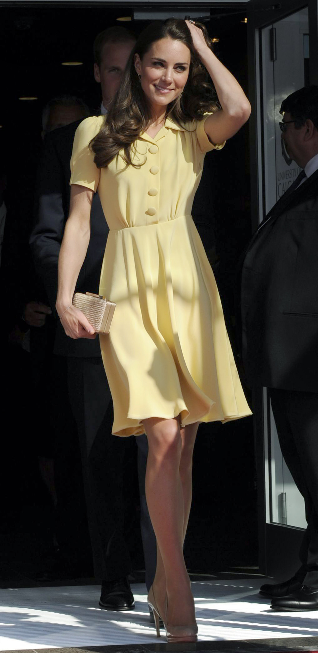 <strong>Sunny Side Up</strong>                                   The Duchess arrived in Calgary on July 7, 2011, in a bright yellow dress. The color was a surprising choice for Middleton, who typically sticks to navy and neutrals.
