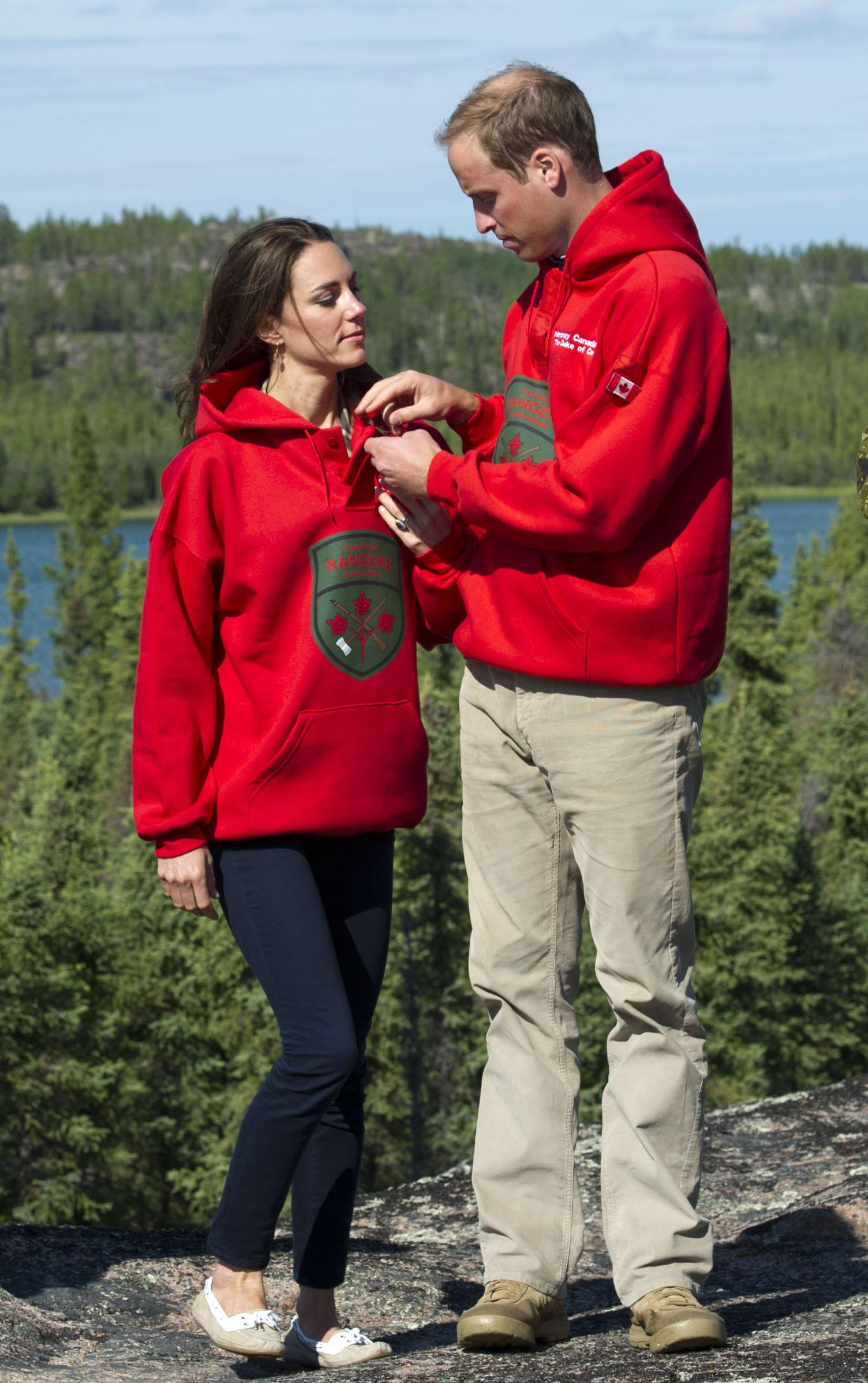 <strong>Matching Couple                                   </strong>                                   The Duke and Duchess of Cambridge wore matching red sweatshirts during a visit to Blachford Lake on July 5, 2011.