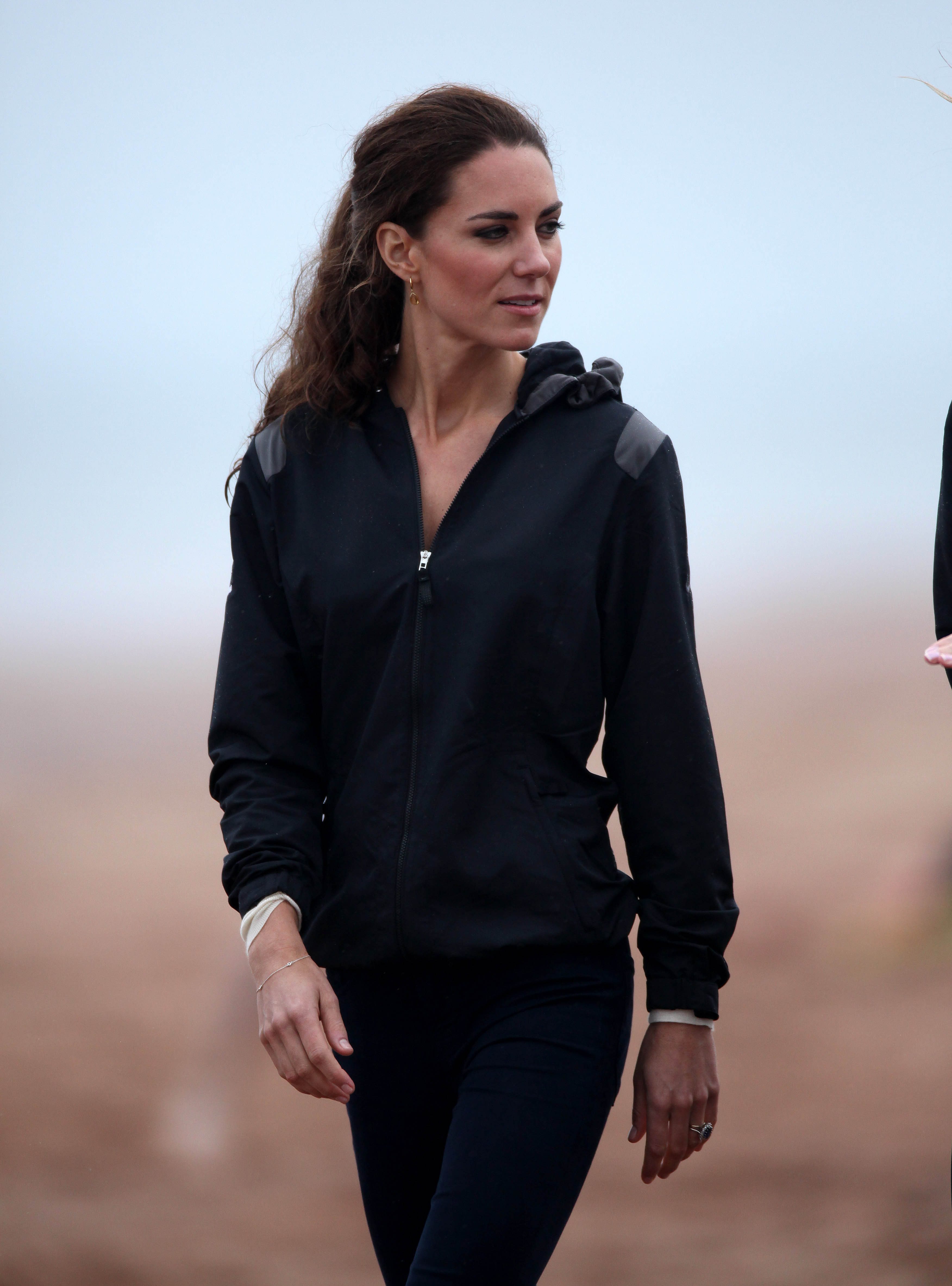 <strong>Athletic Chic</strong>                                   On July 4, 2011, the Duchess visited a beach on Prince Edward Island, Canada, as part of her first overseas tour as a royal. In a departure from her usual style, she went casual in a black track suit and pants.