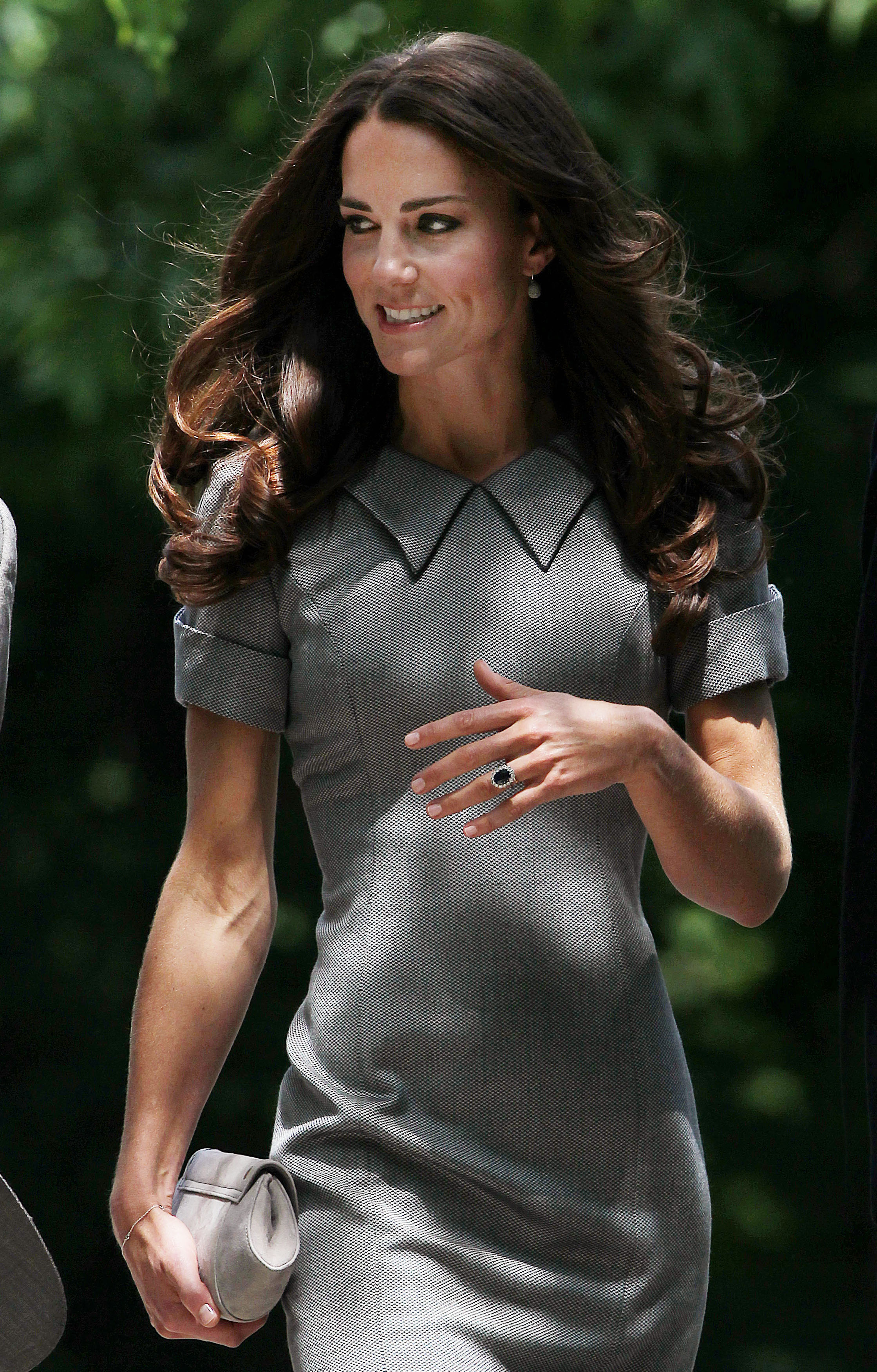 <strong>Diana-Inspired</strong>                                   On July 2, 2011, the Duchess visited Ottawa in a gray Catherine Walker dress. The designer was one of Princess Diana's favorites.