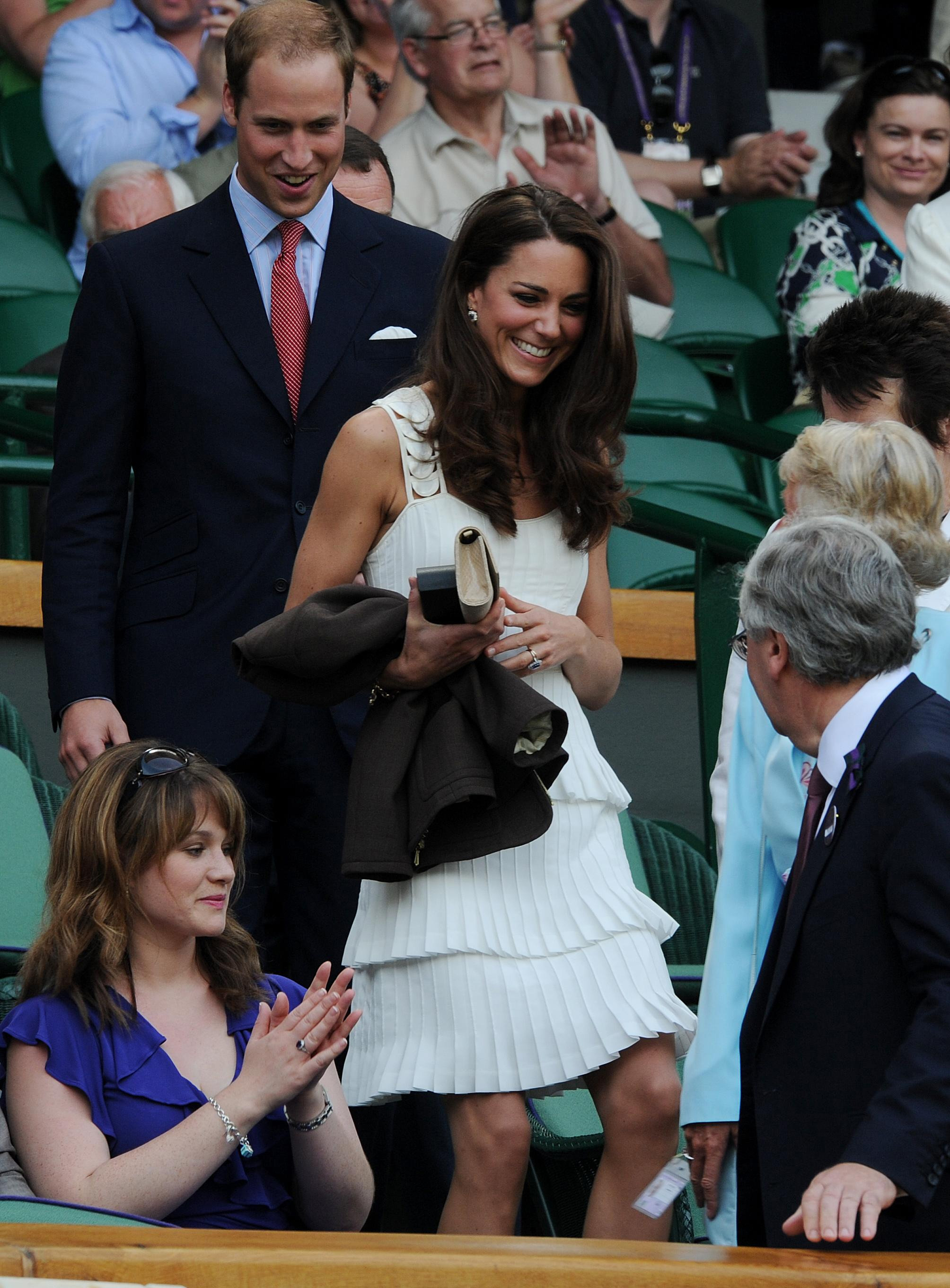<strong>Tennis Style</strong>                                   The Duchess wore a sleeveless, tiered white dress to attend the match between Andy Murray and Richard Gasquet at Wimbledon on June 27, 2011.