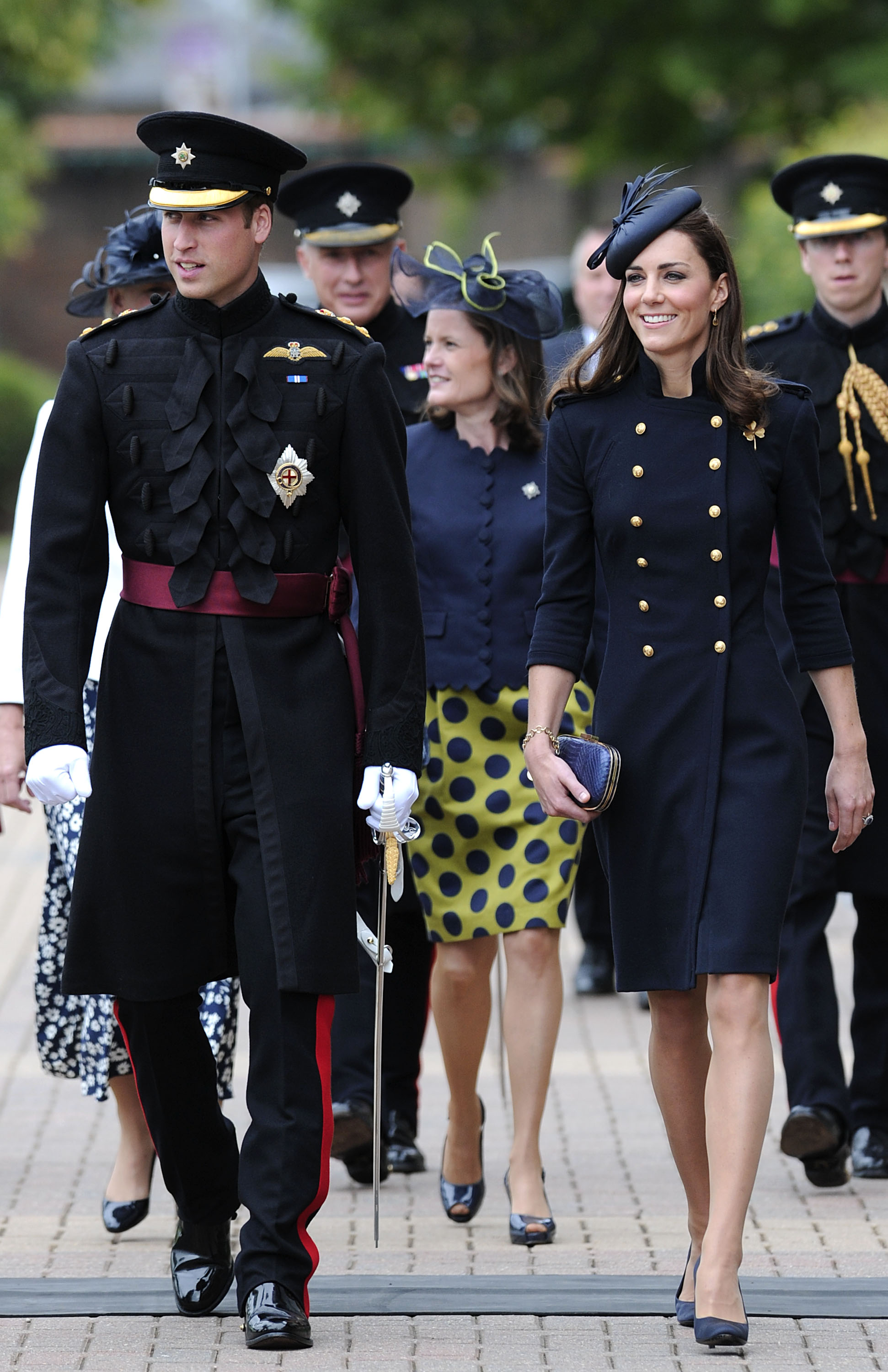 <strong>Fulfilling Her Duty</strong>                                   On a visit to Victoria Barracks in Windsor, England, on June 25, 2011, Middleton suited up in a navy ensemble that matched Prince William's in color and silhouette.