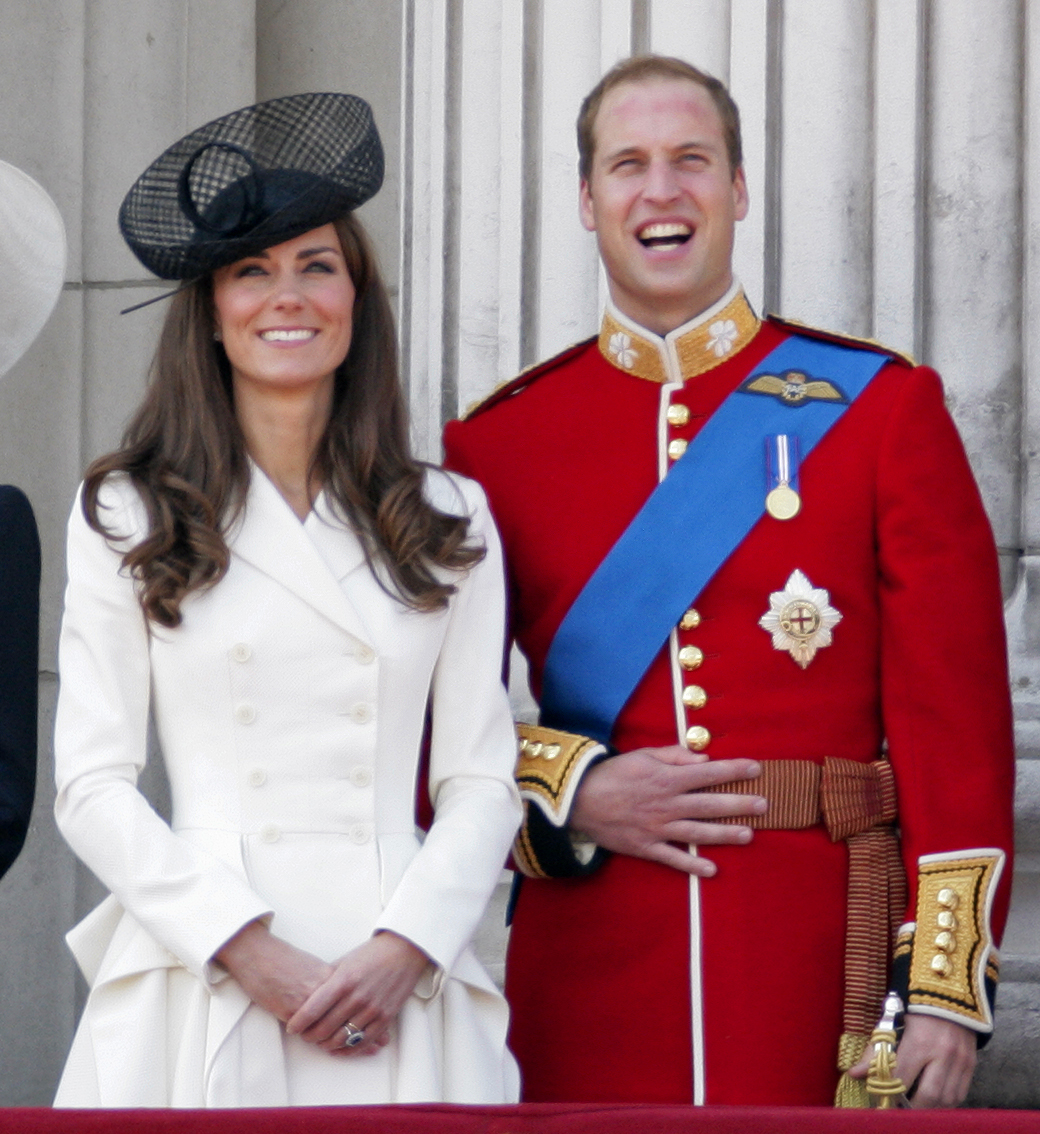 <strong>McQueen, Round 3</strong>                                   The Duchess of Cambridge stands on the balcony at Buckingham Palace in another white design by Sarah Burton for Alexander McQueen after a ceremony for the Queen's birthday on June 11, 2011. Nearly two months earlier, she stood in the same location in her Alexander McQueen wedding gown.