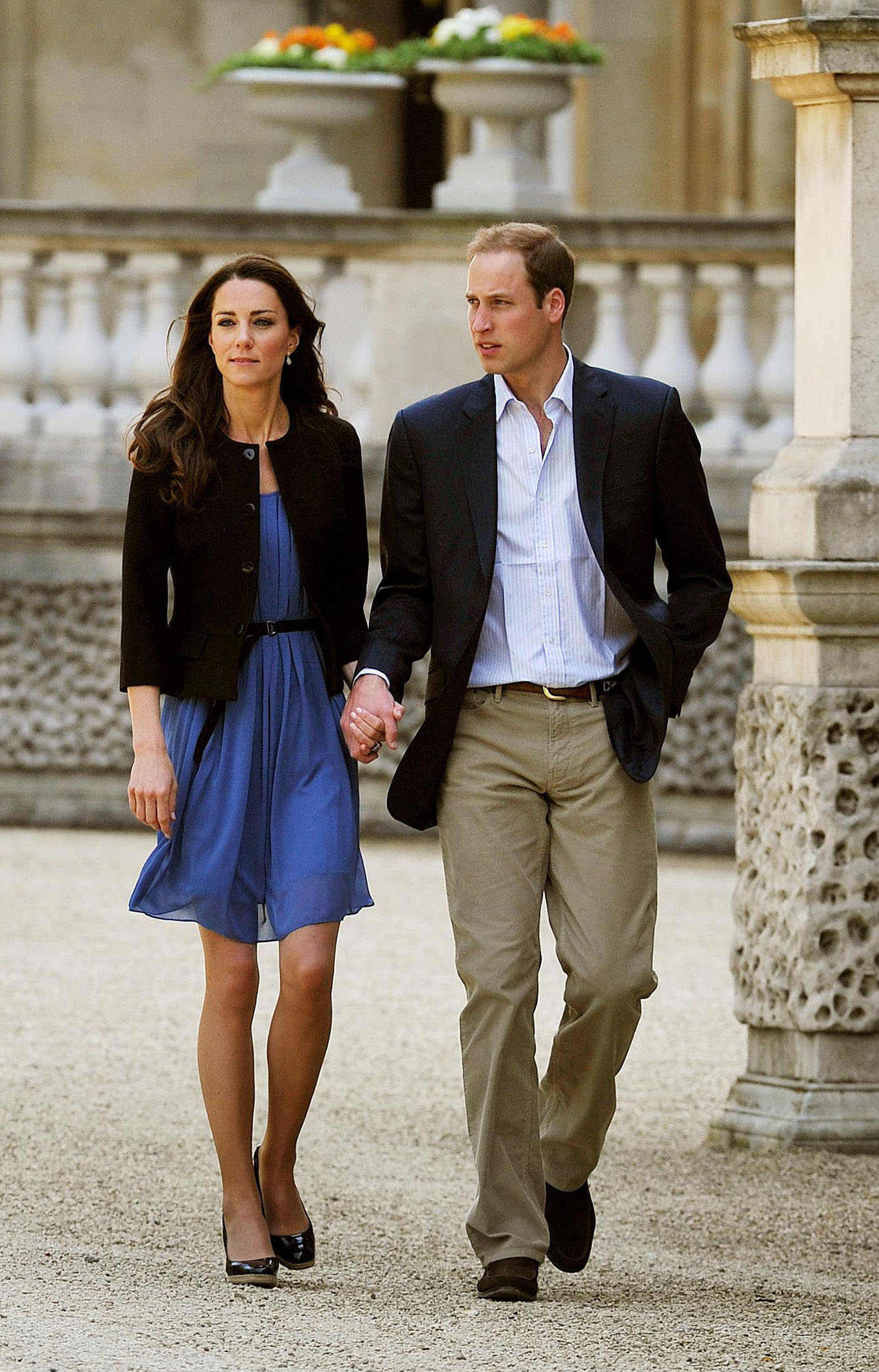 <strong>No Ordinary Saturday Stroll</strong>                                   The morning after her wedding, on April 30, 2011, Middleton opted for a $90 blue Zara dress, which she wore belted under a black blazer and wedge pumps. Photographers snapped this image as the couple left Buckingham Palace to board a helicopter.