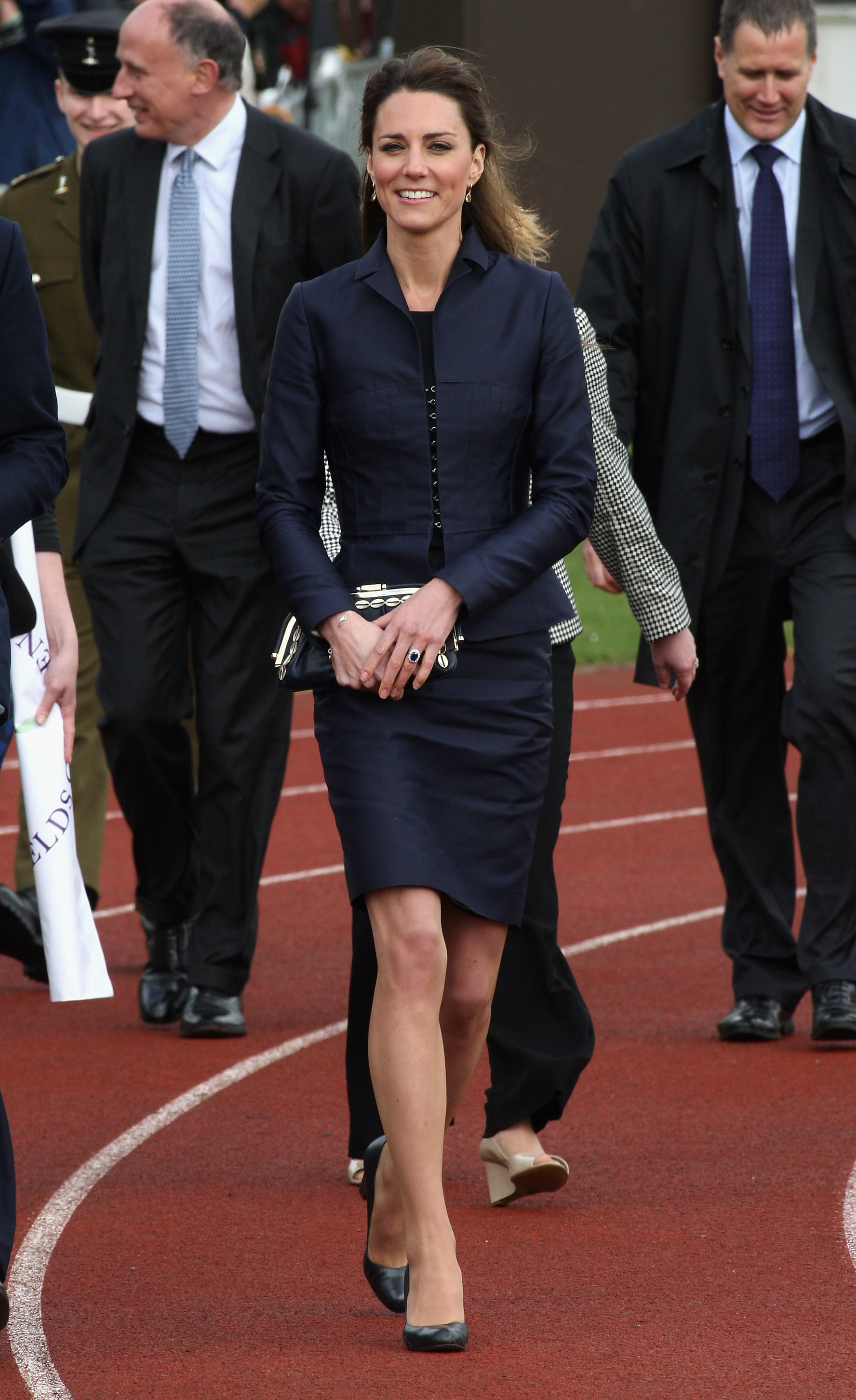 <strong>All Suited Up</strong>                                   Middleton, in a navy blue suit, met athletes on a visit to Witton Country Park in Darwen, England, in her final appearance before her wedding to Prince William. April 11, 2011