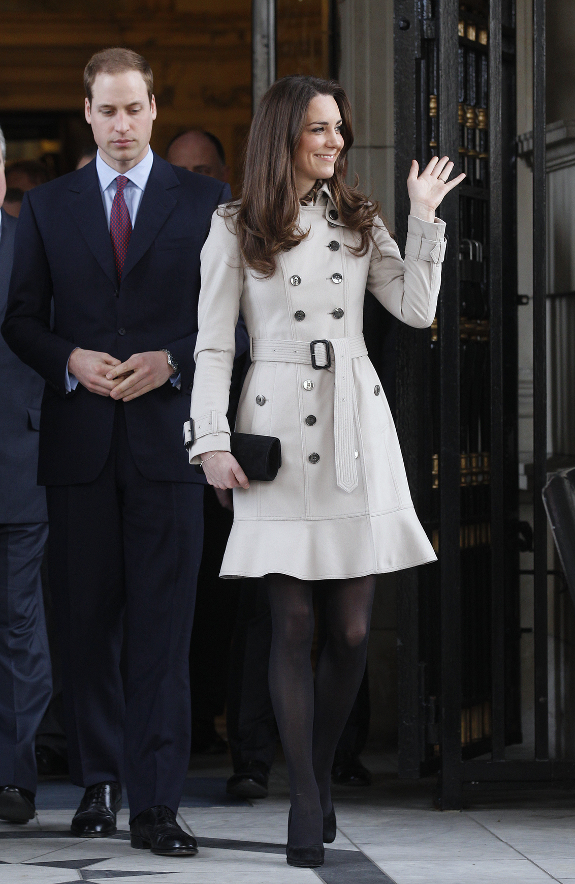 <strong>Burberry in Belfast</strong>                                   On a trip to Northern Ireland on March 8, 2011, Middleton wore a trench coat by Burberry, a British design house. The jacket, like many of Middleton's clothing pieces, sold out online within a day of her appearance in it.