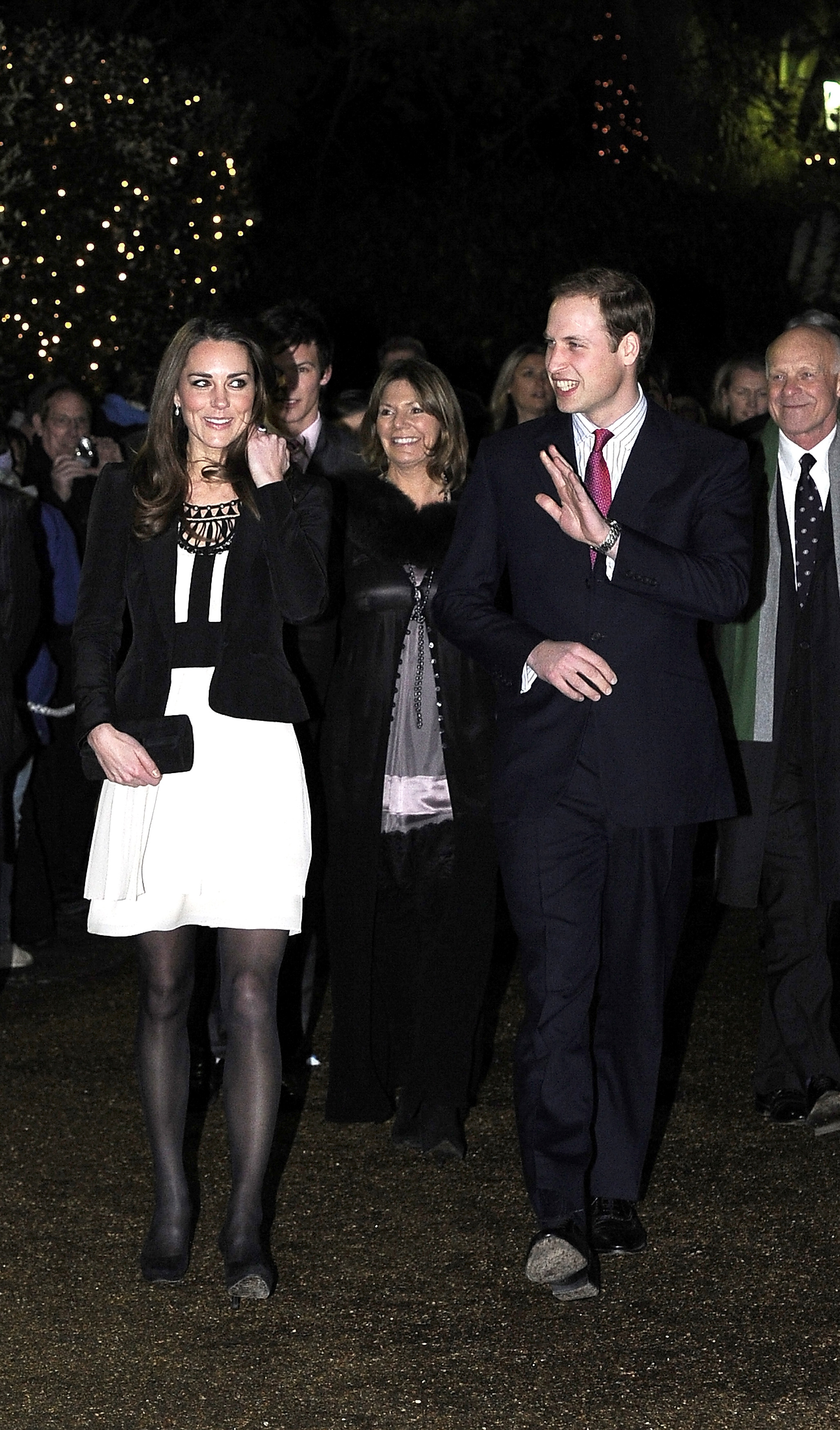 <strong>Fashion in Black and White</strong>                                   For her first public outing post-engagement — a visit to the Thursford Collection in Norfolk — Middleton steered clear of any potential controversy in a simple black and white dress worn under a black blazer. Dec. 18, 2010