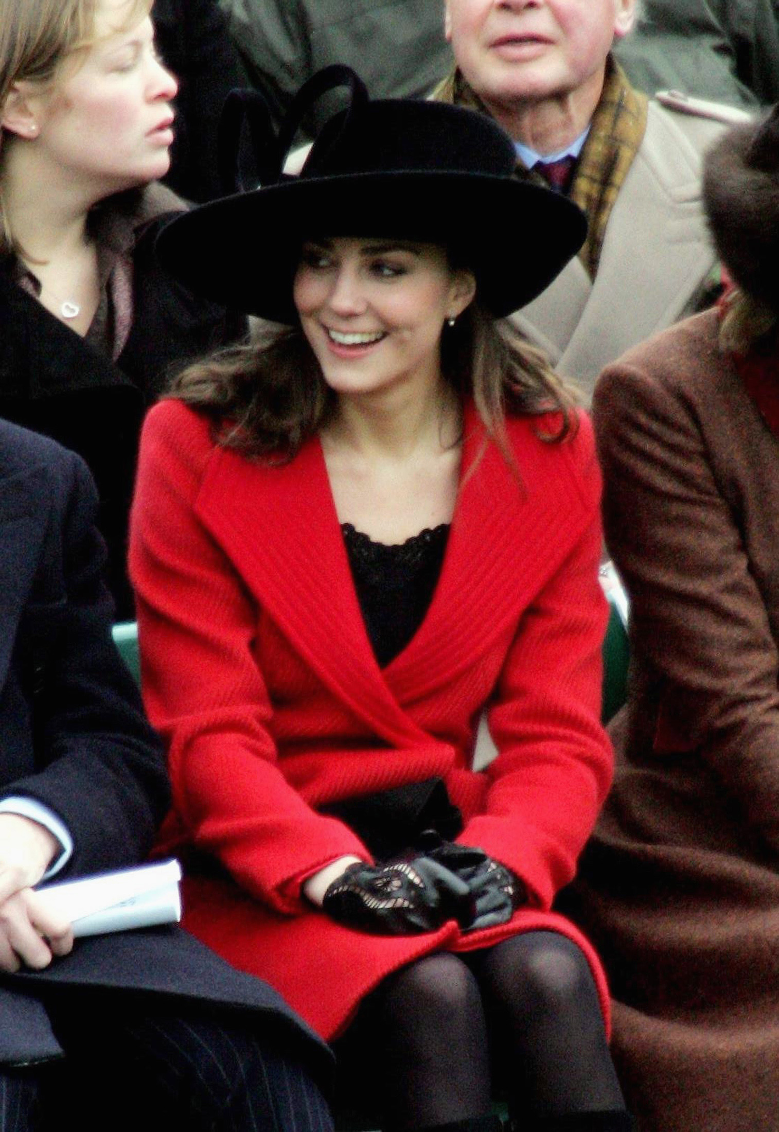 <strong>Regal in Red</strong>                                   Middleton attended Prince William's graduation ceremony from the Royal Military Academy on Dec. 15, 2006, in a red and black ensemble.