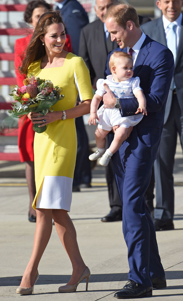 <strong>Sunshine in Sydney</strong>From left: Catherine, Duchess of Cambridge, Prince William, and Prince George arrive from New Zealand at Sydney airport on April 16, 2014.