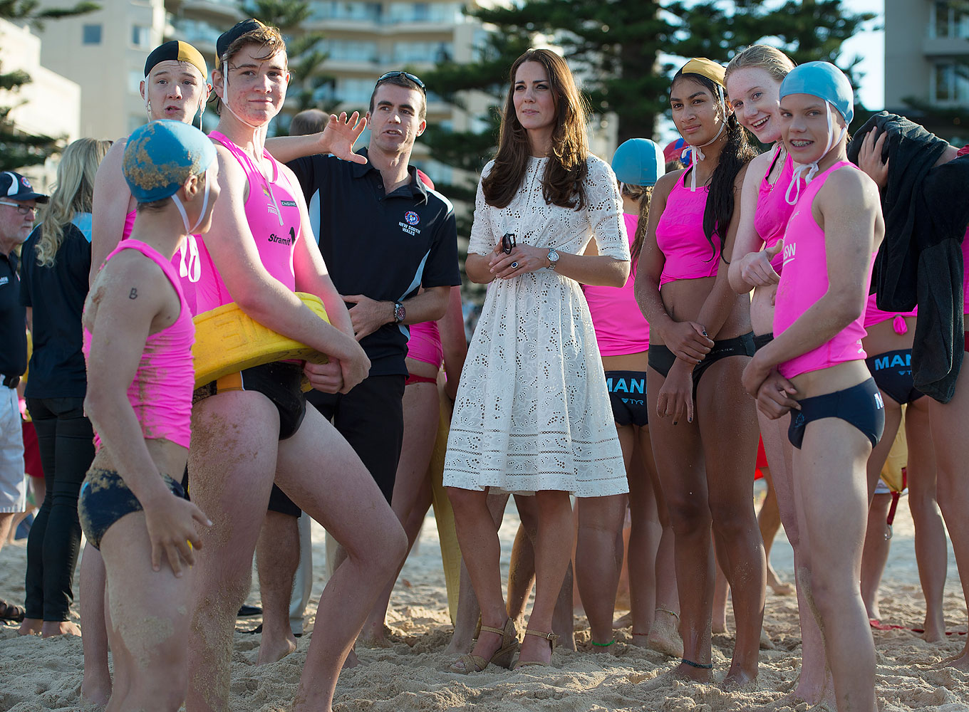 <strong>Riding a Wave in Lace</strong>Catherine, Duchess of Cambridge meets with young surf lifesavers during a surf lifesaving event on Manly Beach on April 18, 2014 in Sydney.