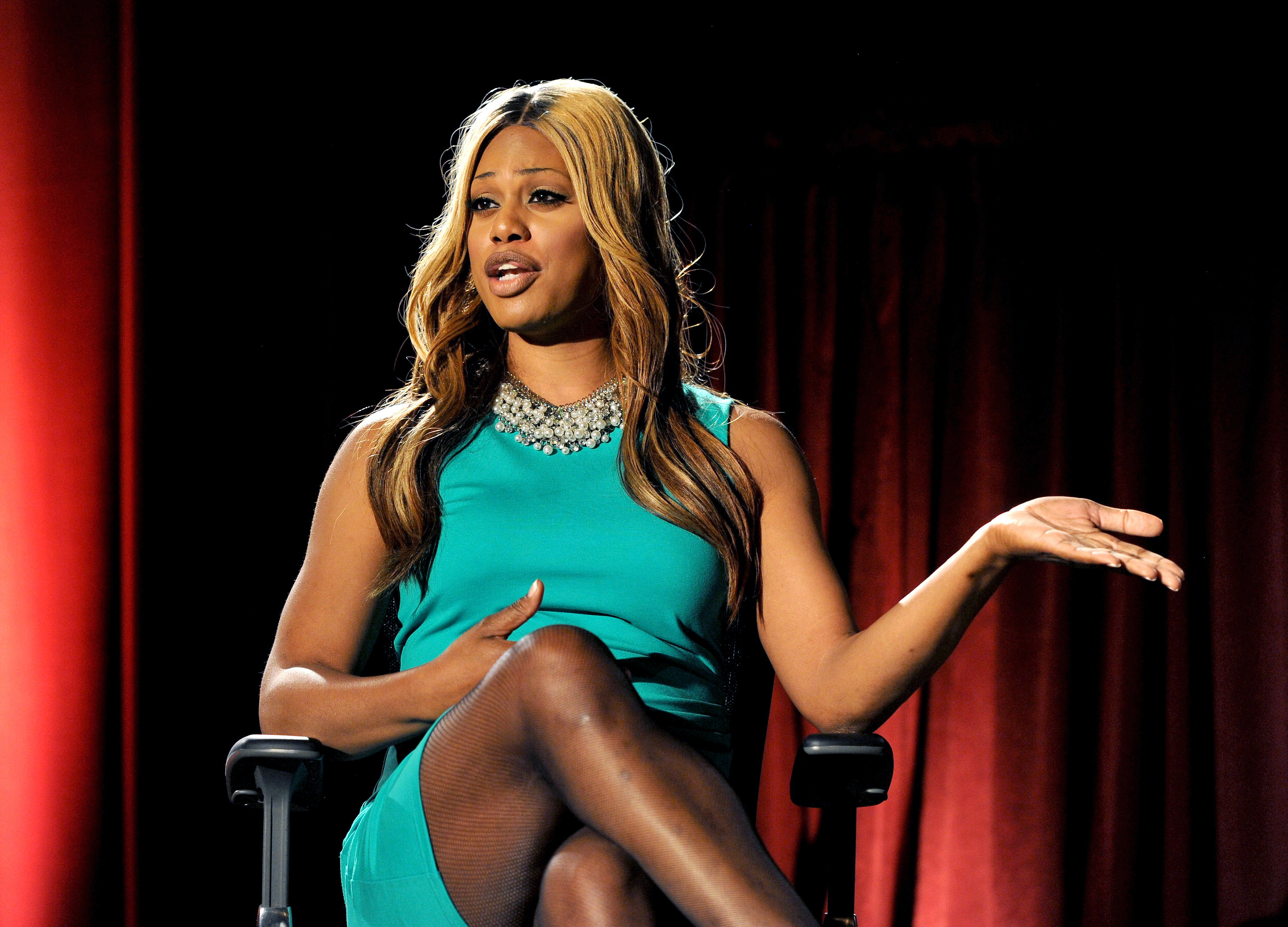 Actor Laverne Cox participates in the Academy of Television Arts & Sciences Presents 10 Years After  The Prime Time Closet - A History Of Gays And Lesbians On TV  panel, on Monday, October 28, 2013, at the Leonard H. Goldenson Theatre in North Hollywood, Calif. (Photo by Frank Micelotta/Invision for Academy of Television Arts & Sciences/AP Images)