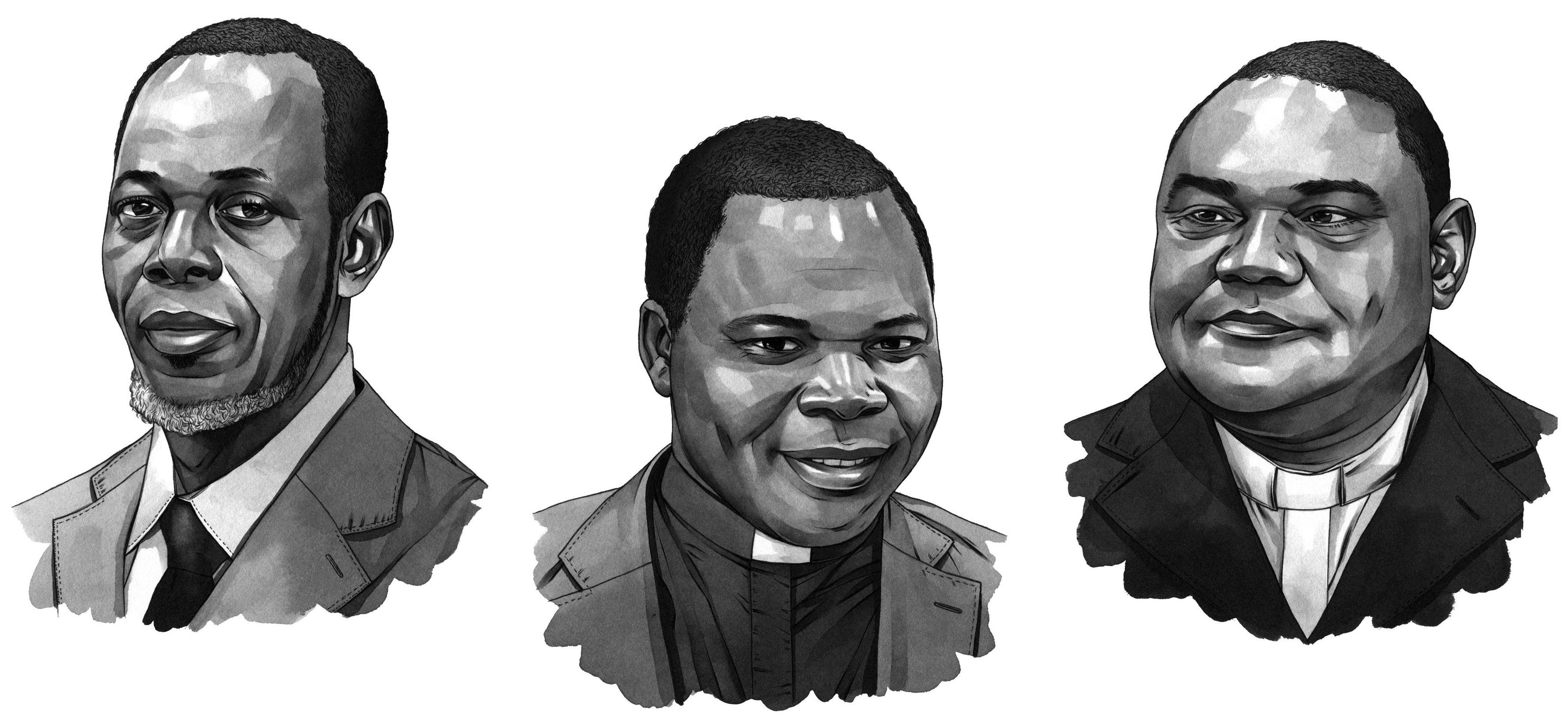 From left: Imam Omar Kobine Layama, Archbishop Dieudonné Nzapalainga, and The Rev. Nicolas Guérékoyame-Gbangou.