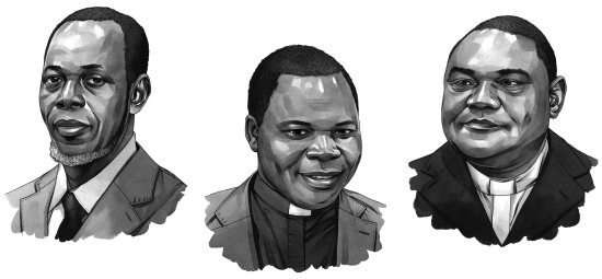 From left: Imam Omar Kobine Layama, Archbishop Dieudonné Nzapalainga, and The Rev. Nicolas Guérékoyame-Gbangou.