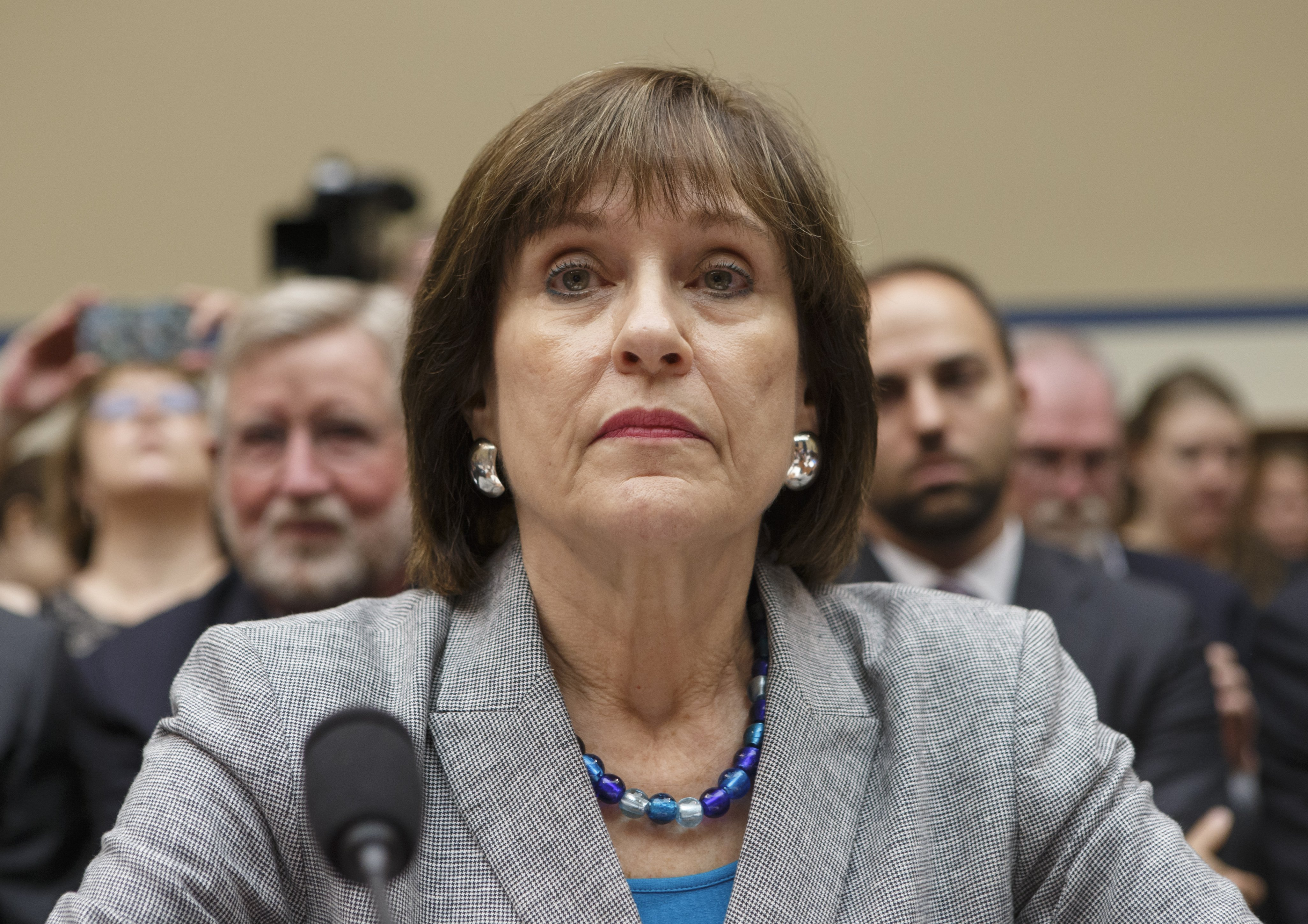 Internal Revenue Service official Lois Lerner refuses to answer questions as the House Oversight Committee holds a hearing to investigate the extra scrutiny the IRS gave Tea Party and other conservative groups that applied for tax-exempt status, on Capitol Hill in Washington, D.C., on May 22, 2013.