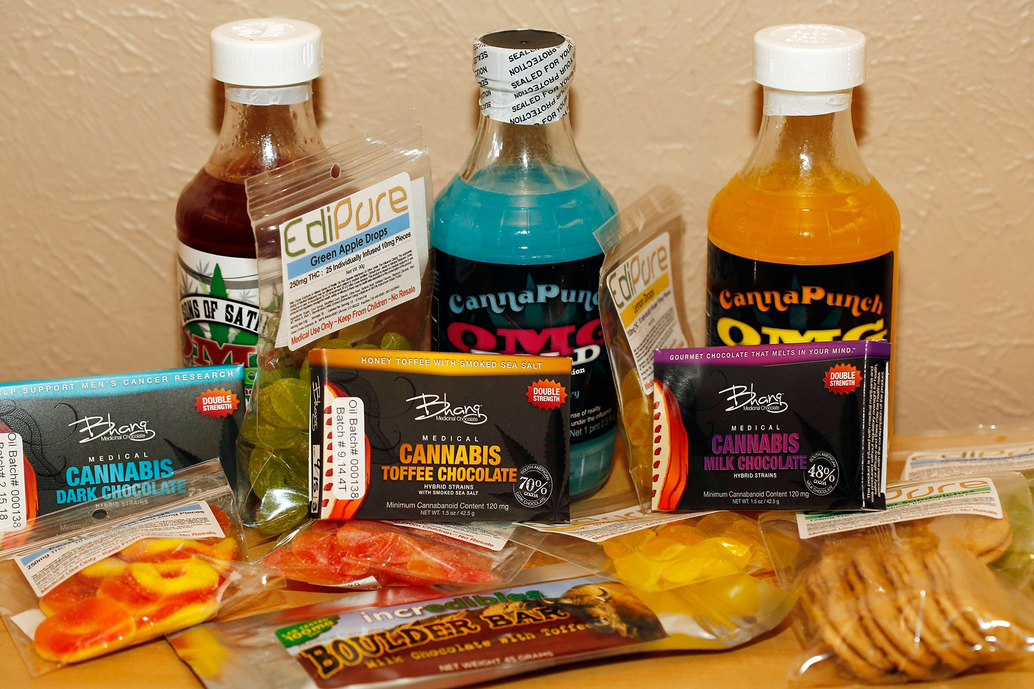 Edible marijuana products are pictured on display at a medical marijuana dispensary in Denver on April 18, 2014.
