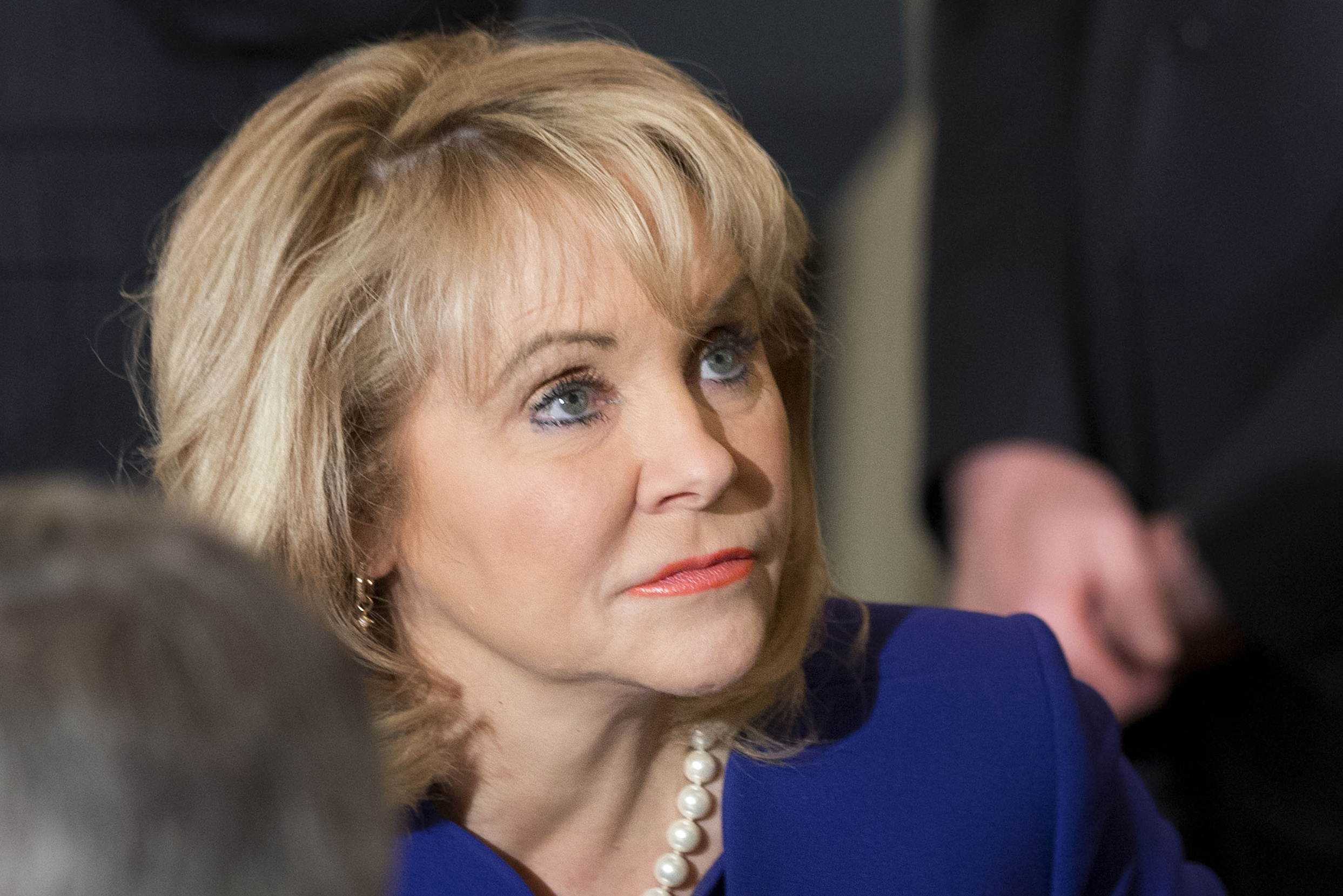 Oklahoma Governor Mary Fallin, chair of the National Governors Association, waits for the arrival of President Barack Obama to speak to members of the National Governors Association at the White House on Feb. 24, 2014