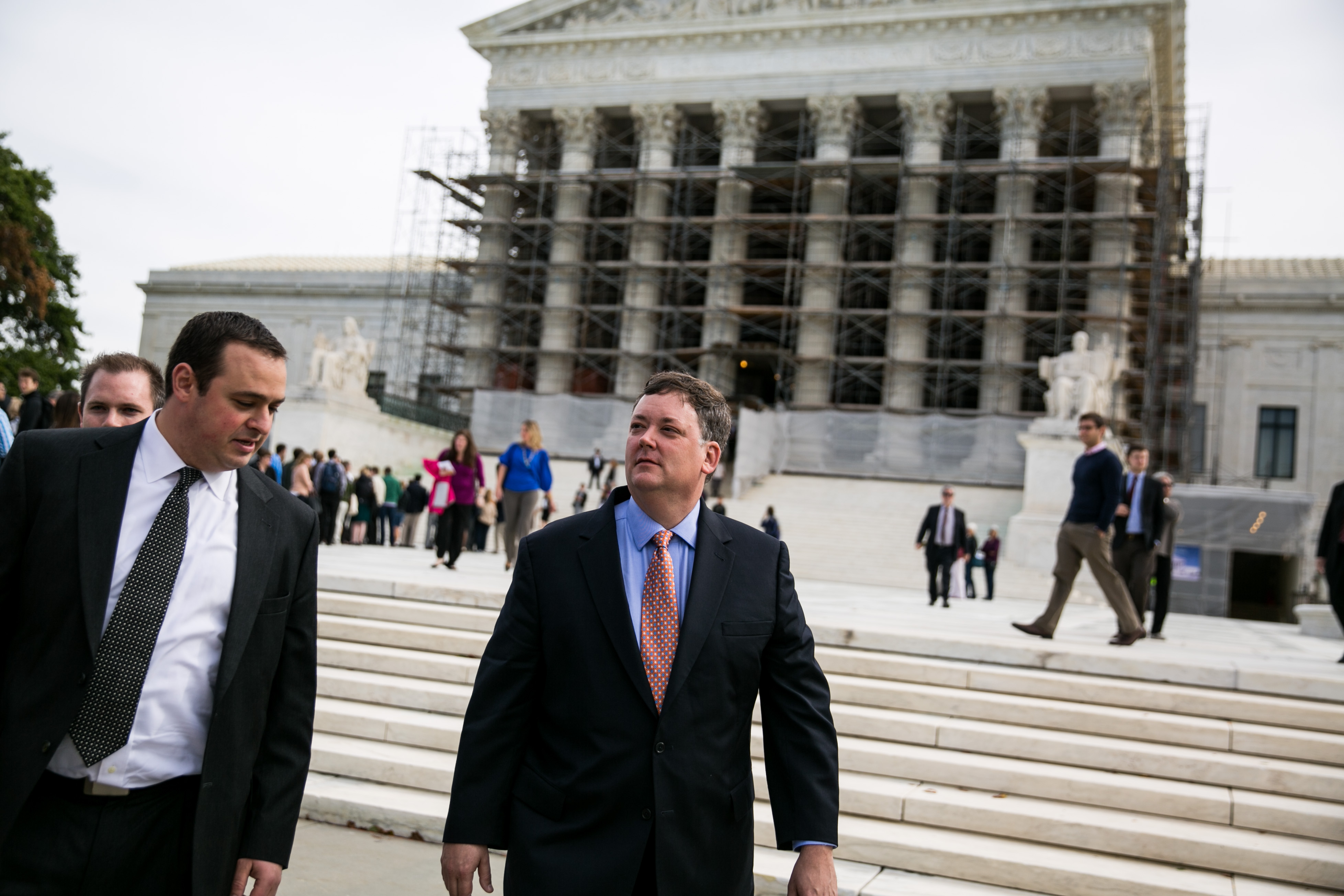 Shaun McCutcheon (R) and Dan Backer (L) at the Supreme Court in Washington, on October 8, 2013.