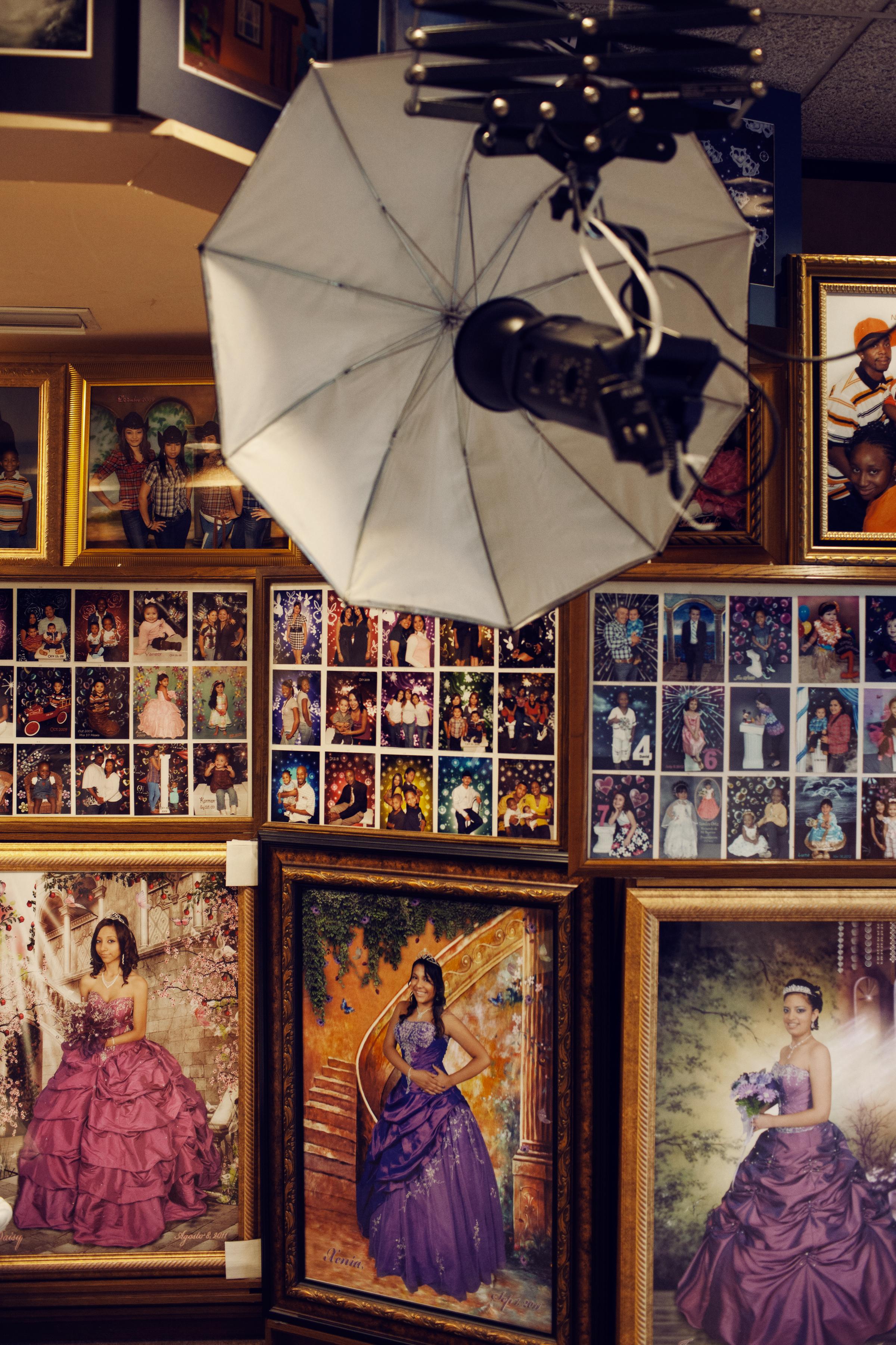 Quinceañera portraits are the main source of income for this photo studio at La Gran Plaza.