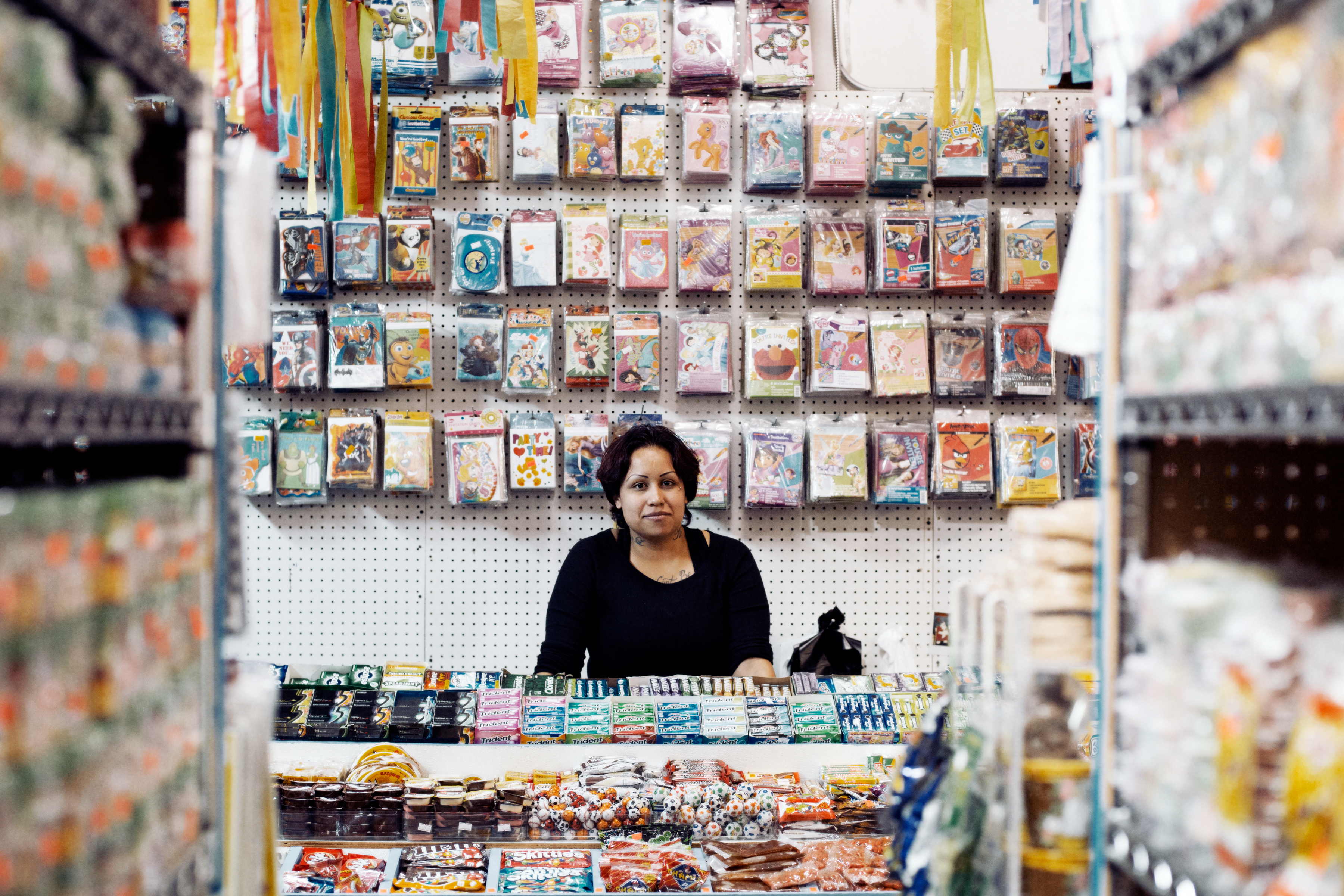 Esmerelda Walker works in a candy store specializing in Mexican candy at the mall. She has lived in the U.S. for 16 years.