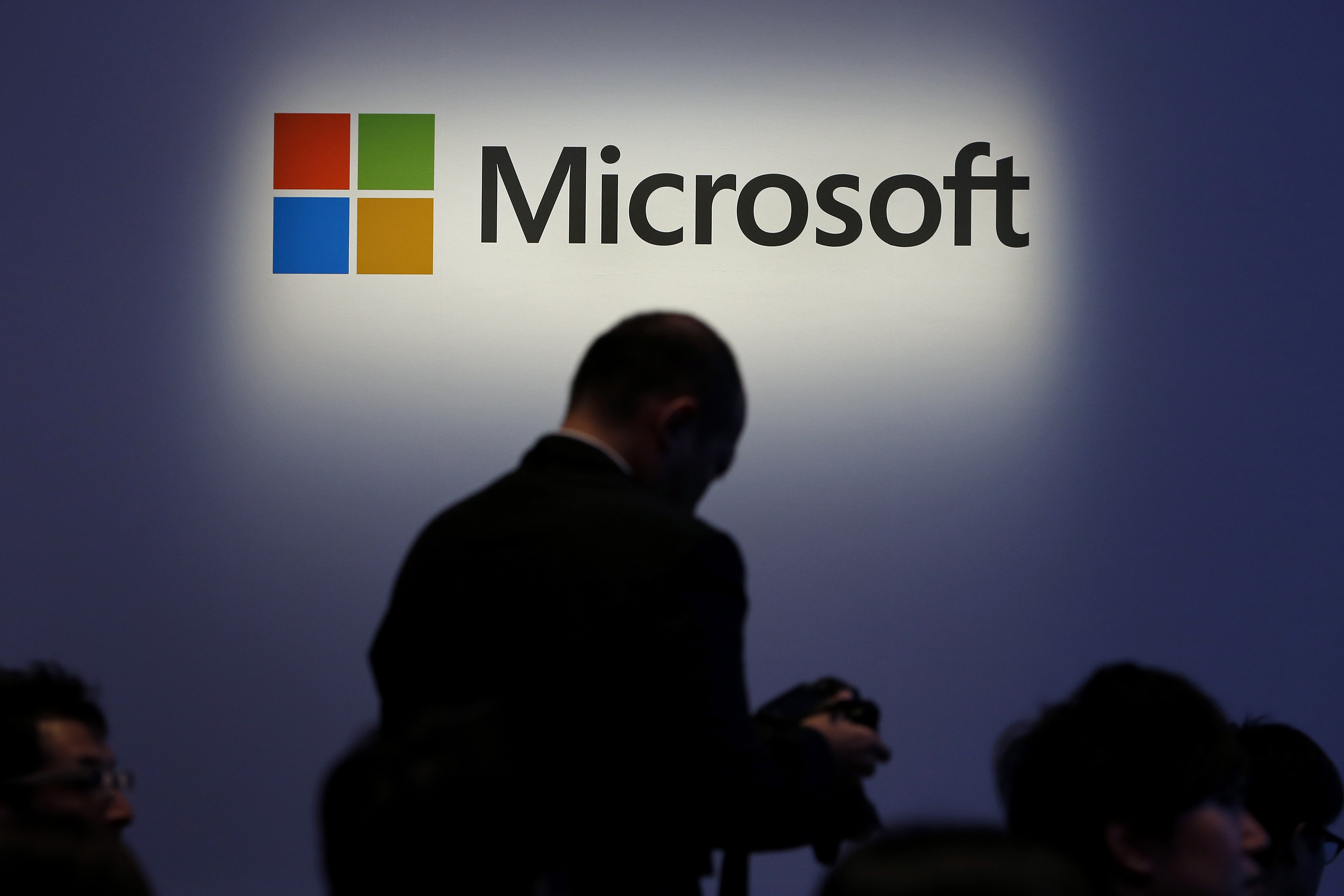 The Microsoft Corp. logo at a launch event for the company's Windows 8.1 operating system in Tokyo, on Oct. 18, 2013.