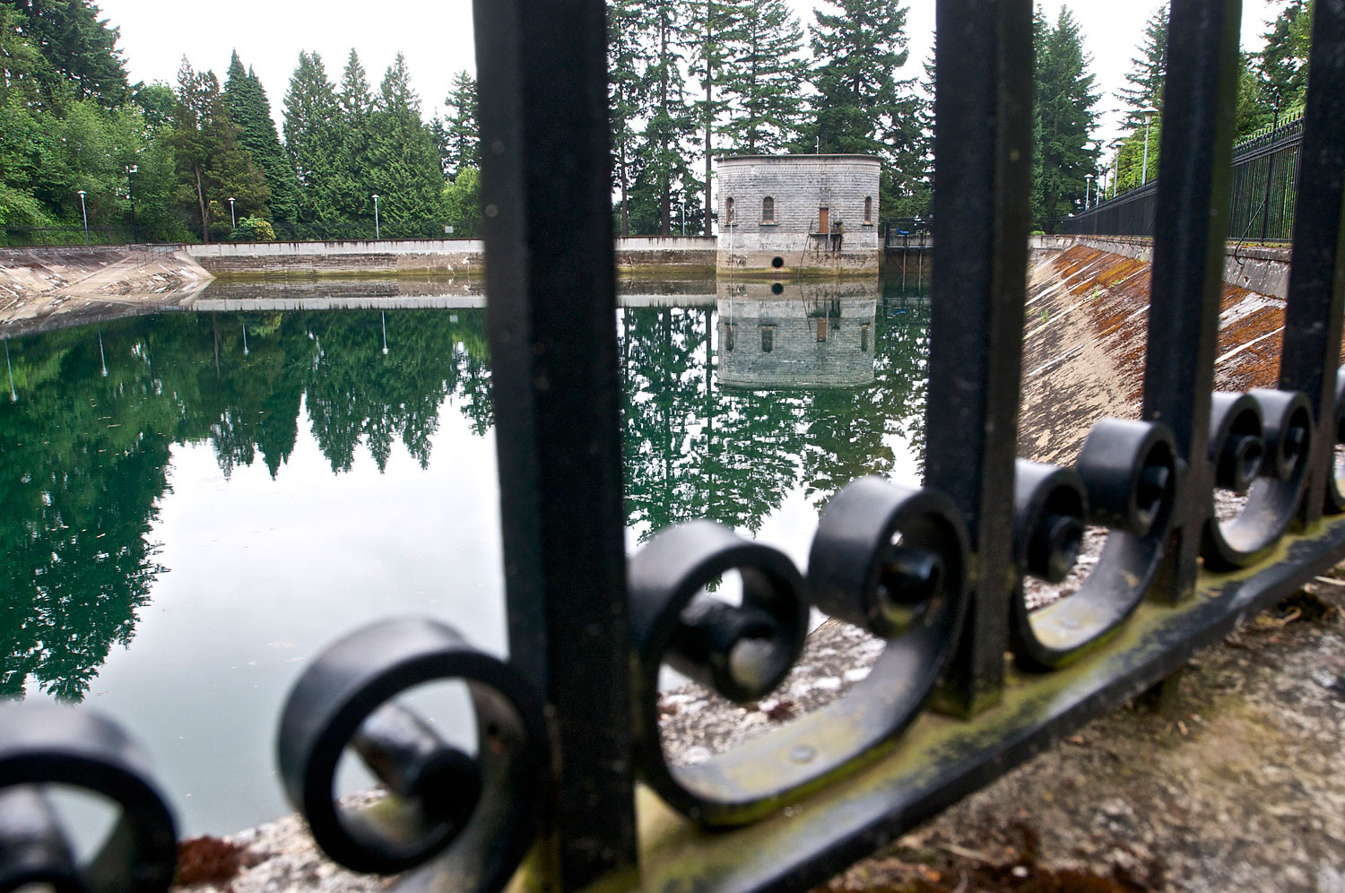 The Mount Tabor number 1 reservoir in Portland, Ore., seen 2011.