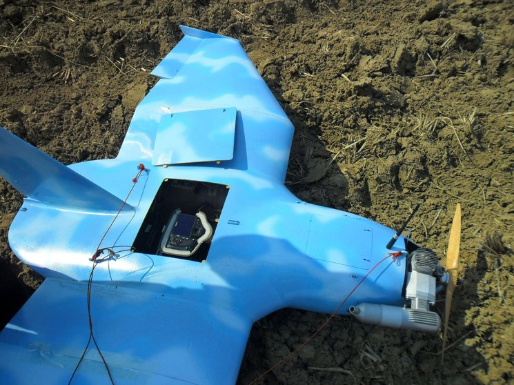 A crashed drone found on March 24, 2014 in Paju, north of Seoul.
