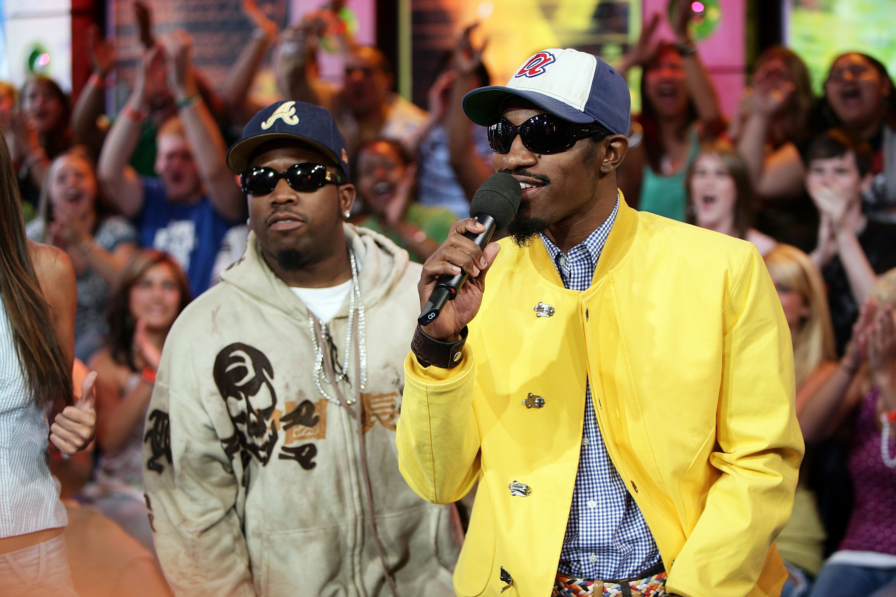 From left: Antwan A. (Big Boi) Patton and Andre (Andre 3000) Benjamin of Outkast onstage during MTV's Total Request Live at the MTV Times Square Studios on Aug. 22, 2006 in New York City.