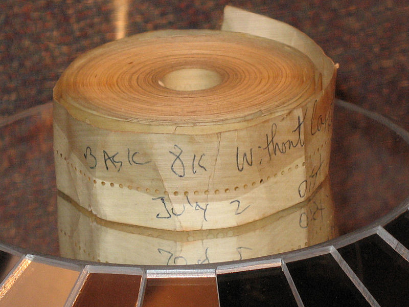 An original paper-tape copy of Paul Allen, Bill Gates and Monte Davidoff's Altair BASIC, as exhibited at the New Mexico Museum of Natural History and Science