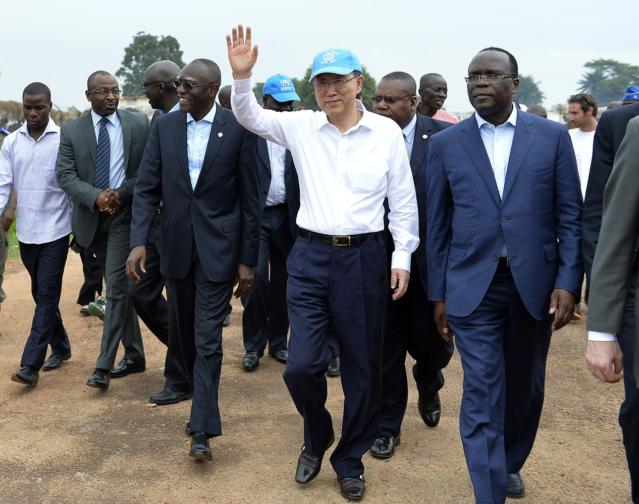 U.N. Secretary-General Ban Ki-moon waves as he visits a camp for internally displaced persons in the Central African Republic on April 5, 2014